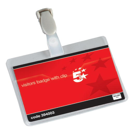 Holders 5 Star Office Name Badges Visitors Landscape with Plastic Clip 60x90mm Pack 25