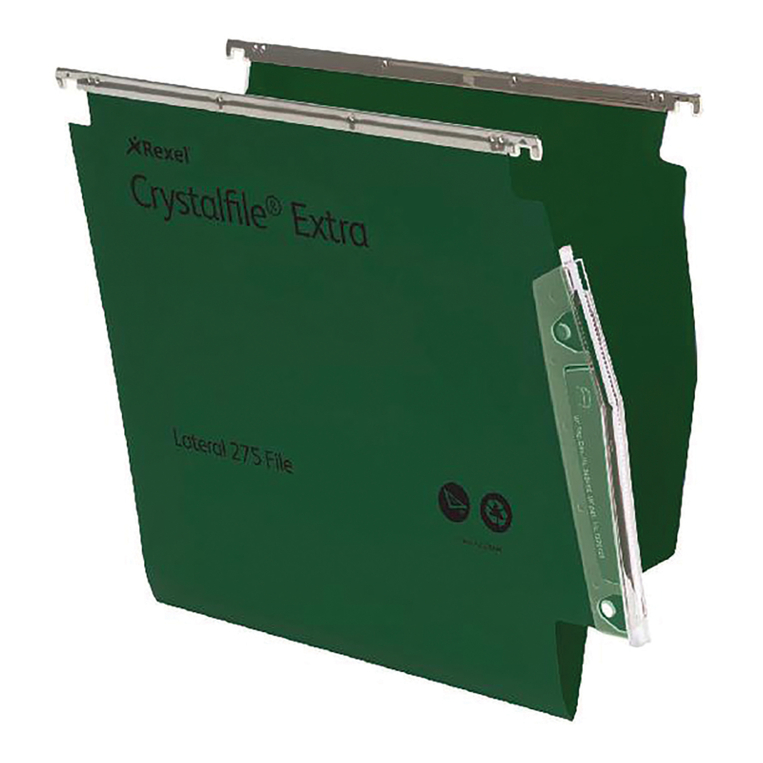 Lateral Files Rexel Crystalfile Extra Lateral File Polypropylene 15mm V-base A4 Green Ref 70637 Pack 25