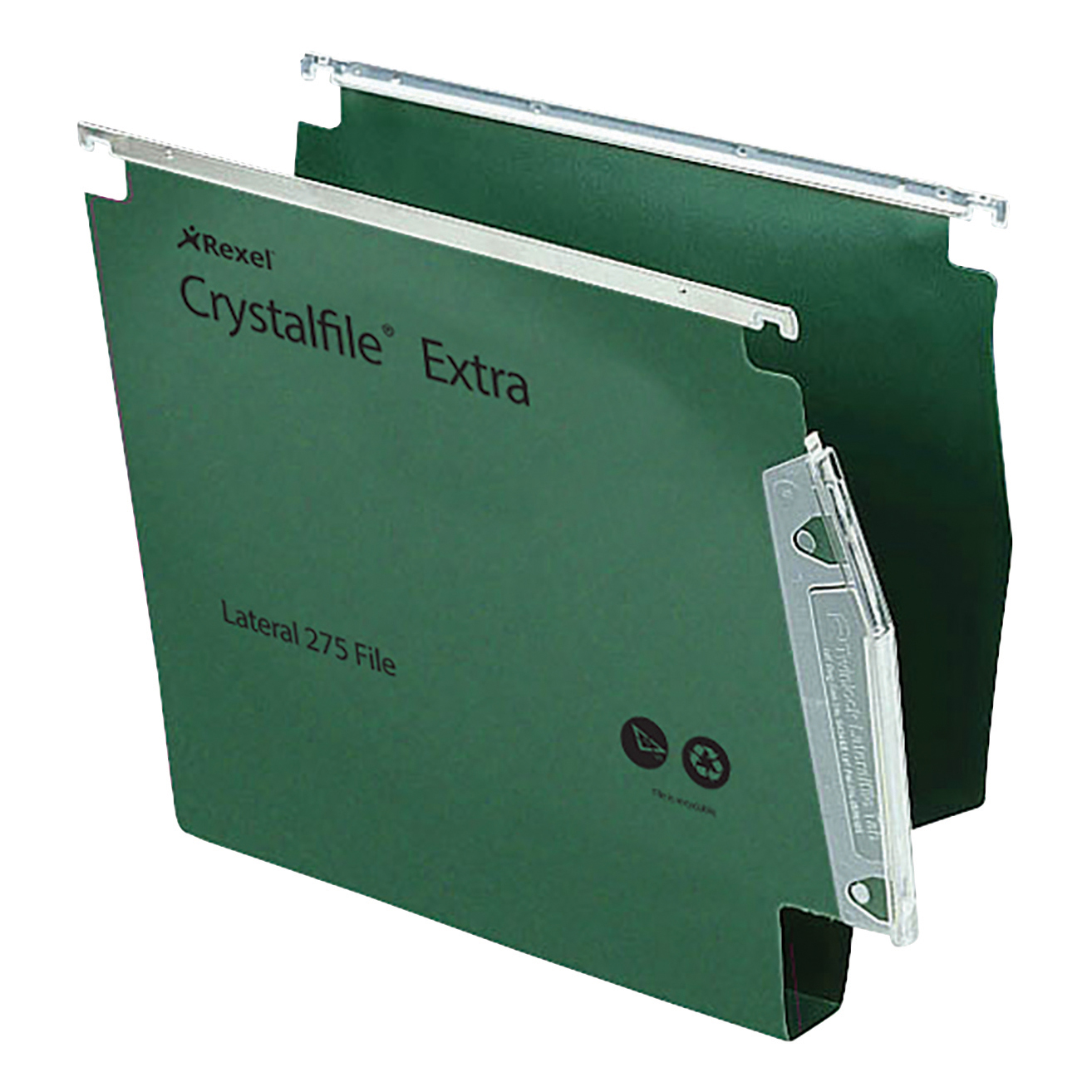 Rexel Crystalfile Extra Lateral File Polypropylene 30mm Wide-base A4 Green Ref 70640 Pack 25