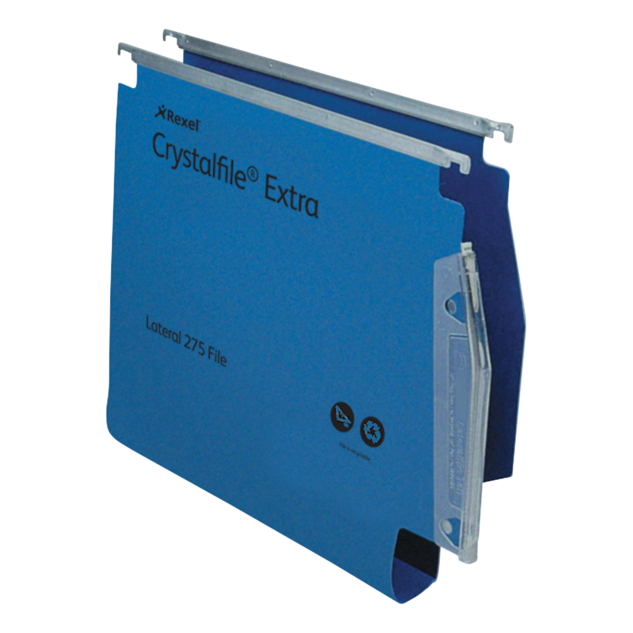 Rexel Crystalfile Extra Lateral File Polypropylene 30mm Wide-base A4 Blue Ref 70642 Pack 25