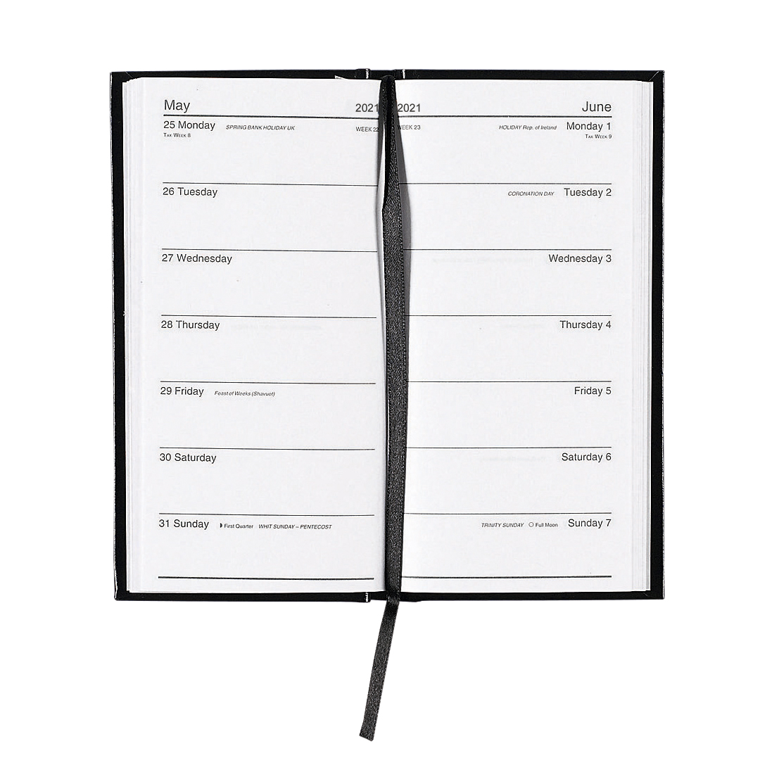 Diaries or refills 5 Star Office 2021 Slim Portrait Pocket Diary Two Weeks to View Casebound Sewn 80x160mm Black Ref 142942