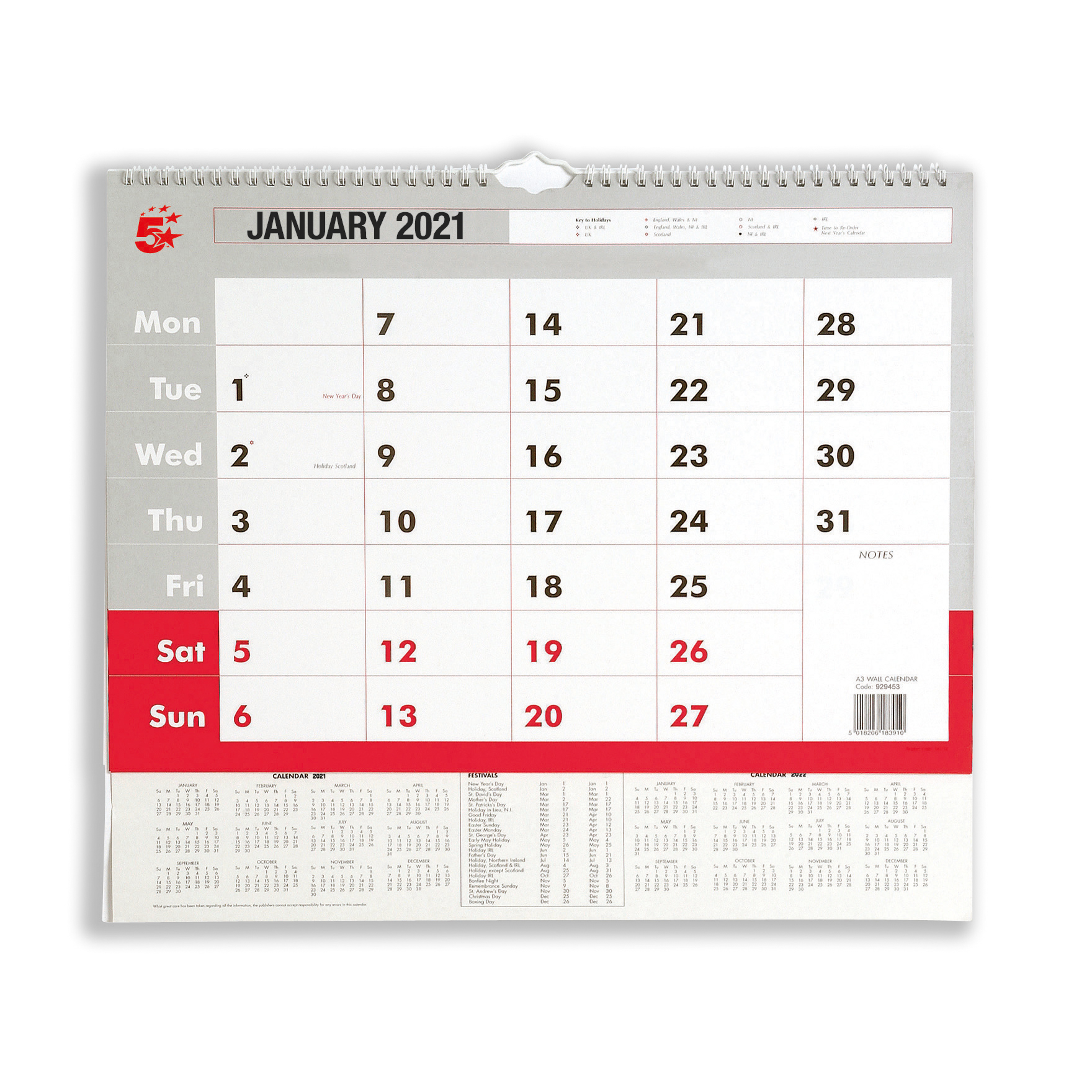 Calendars 5 Star Office 2021 Wall Calendar Month to View Wirebound 135gsm Paper A3 297x420mm White/Red