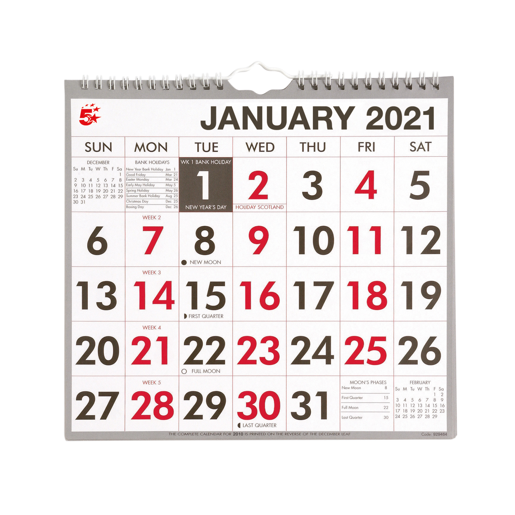 Calendars 5 Star Office 2020 Wall Calendar Month to View Wirebound 135gsm Paper 249x231mm White/Red