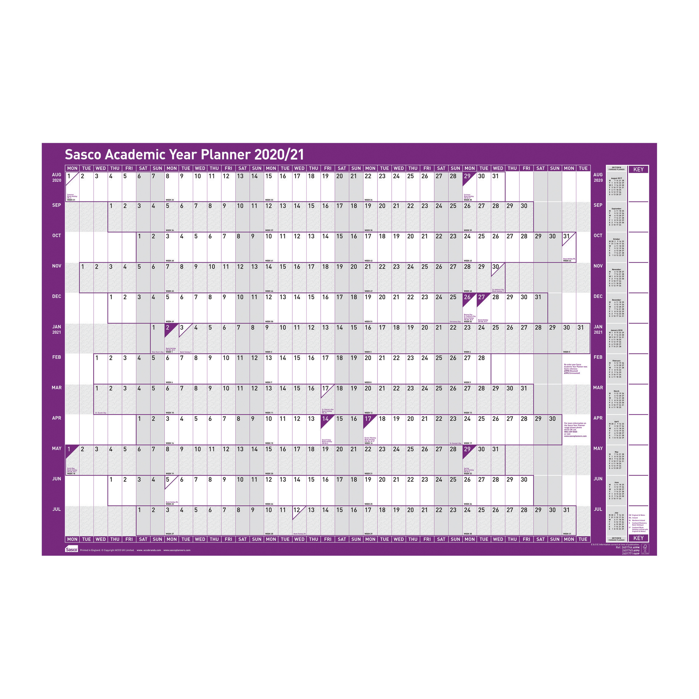 Planners Sasco 2020/21 Academic Year Planner Mounted Ref 2410112