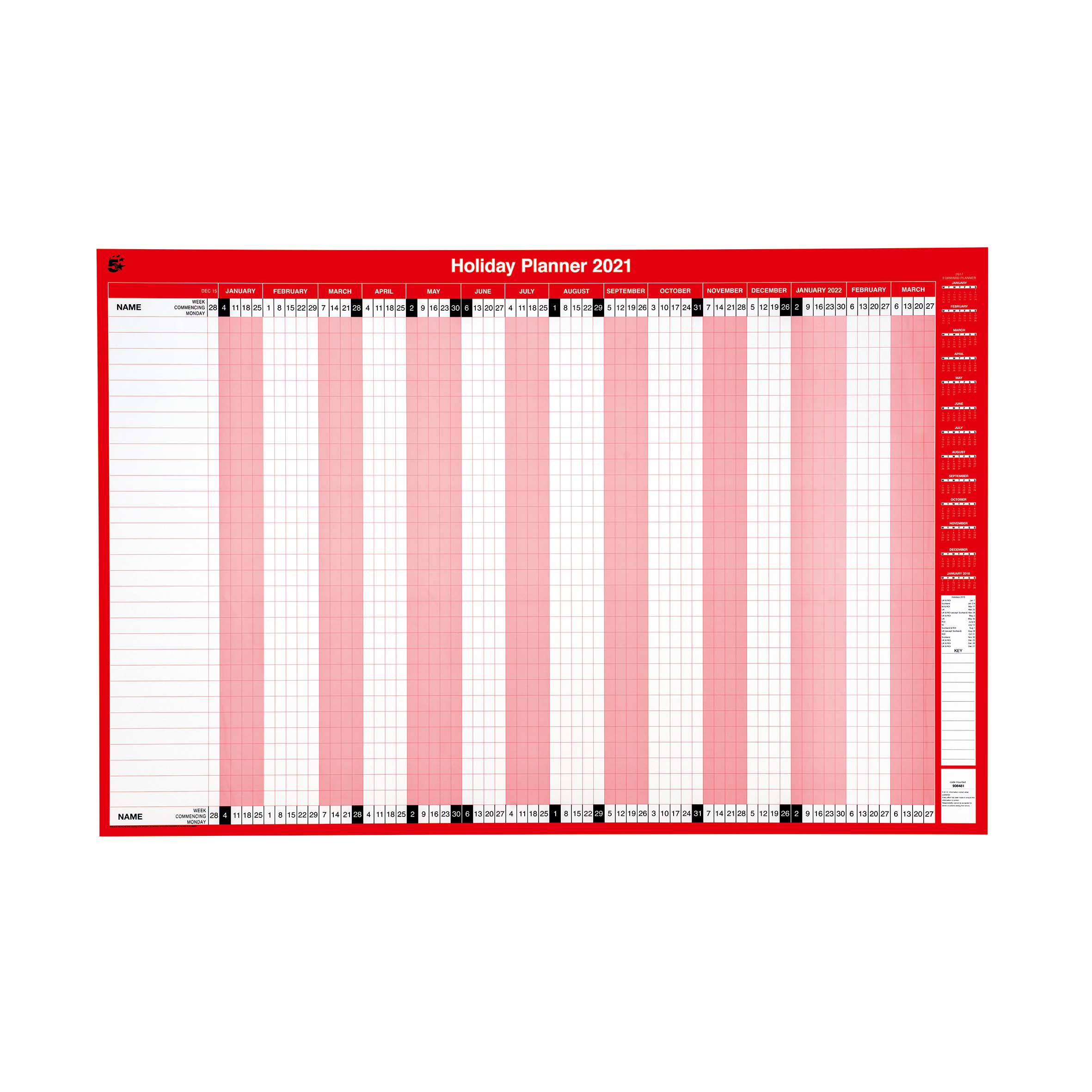 Planners 5 Star Office 2021 Holiday Planner Unmounted Landscape with Planner Kit 915x610mm Red