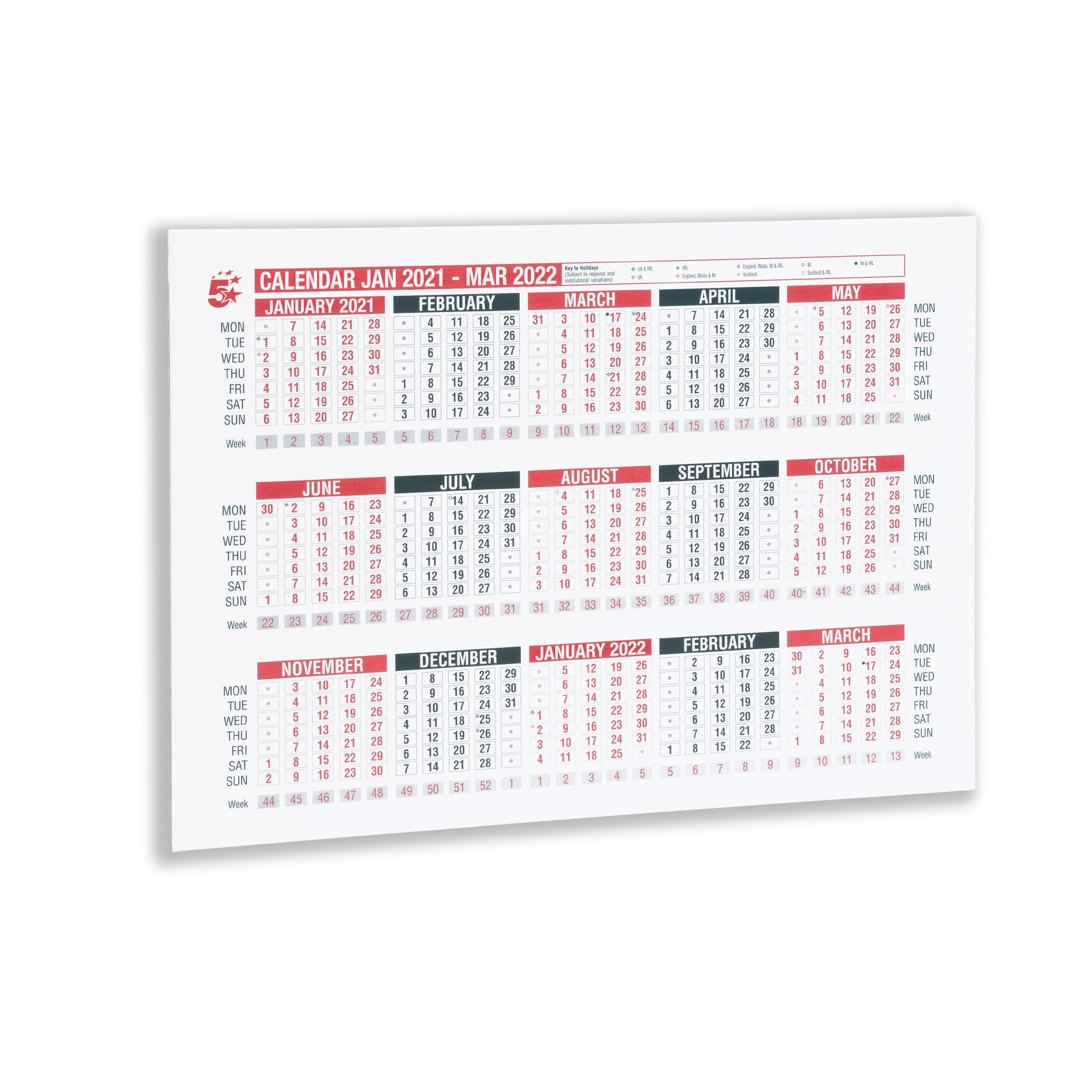 Calendars 5 Star Office 2021 Wall or Desk Calendar Jan 2021-March 2022 A4 297x210mm White