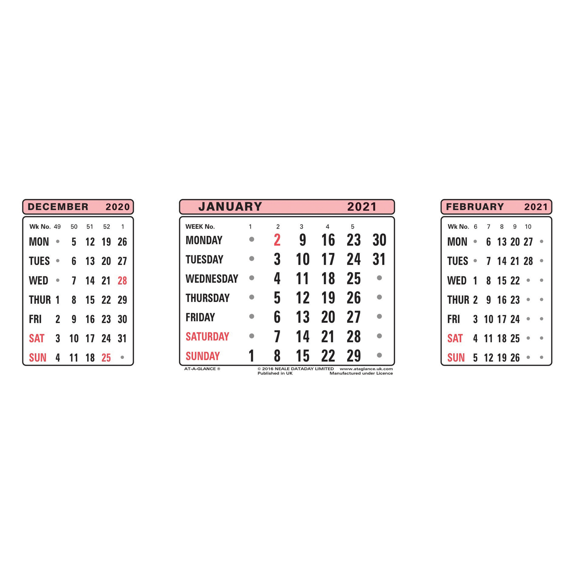 Calendars At-A-Glance 2021 Refill Dates for Three Months to View Desk Calendar 210x80mm White Ref 3SR 2021