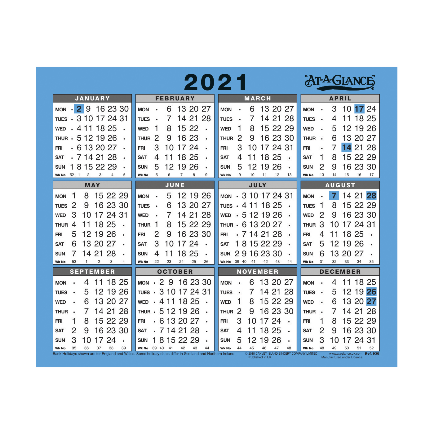 Calendars At-A-Glance 2021 Wall/Desk Calendar Year to View Gloss Board Binding 254x210mm White/Blue Ref 930 2021