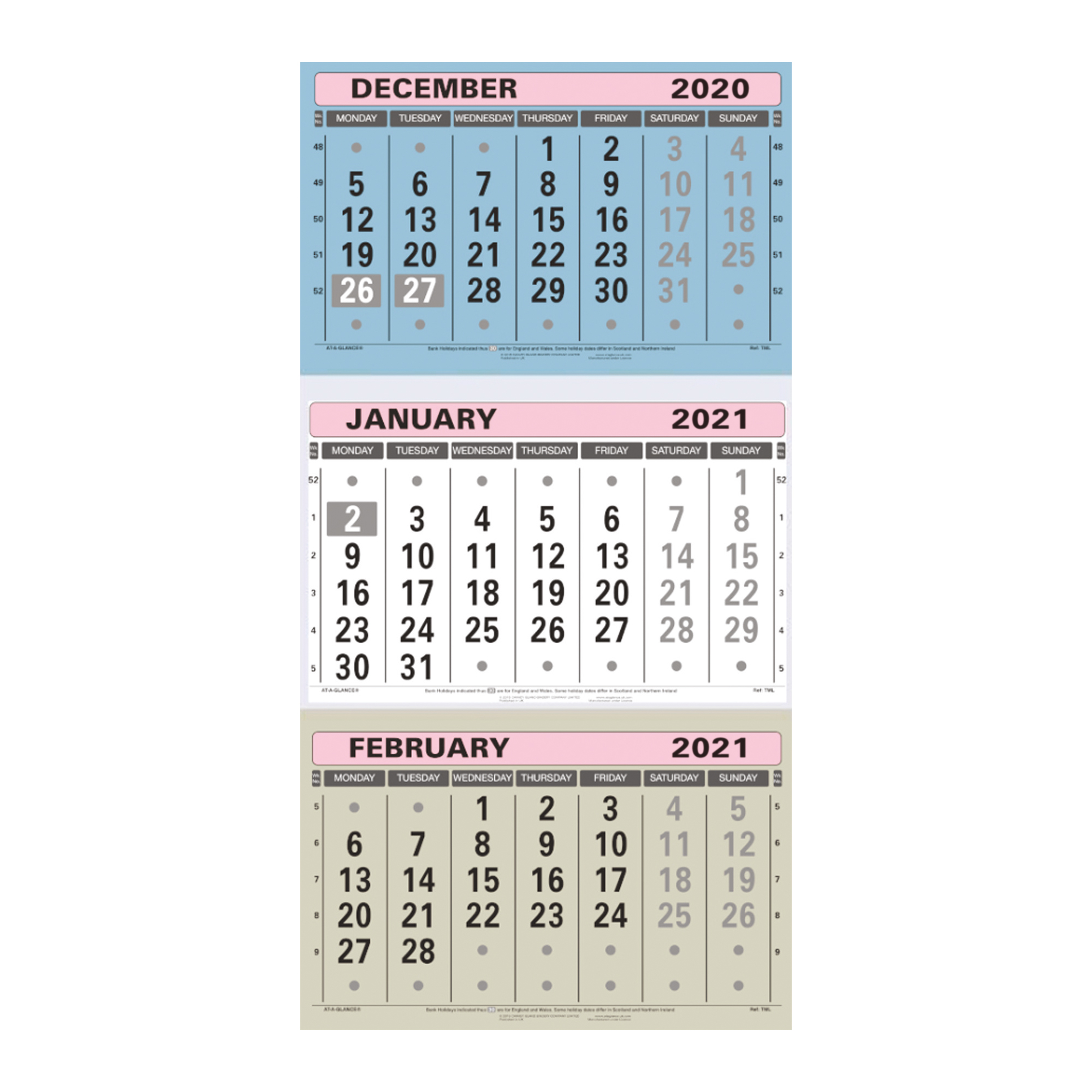 Calendars At-A-Glance 2021 Wall Calendar Three Months to View Board Binding 300x595mm Assorted Ref TML 2021