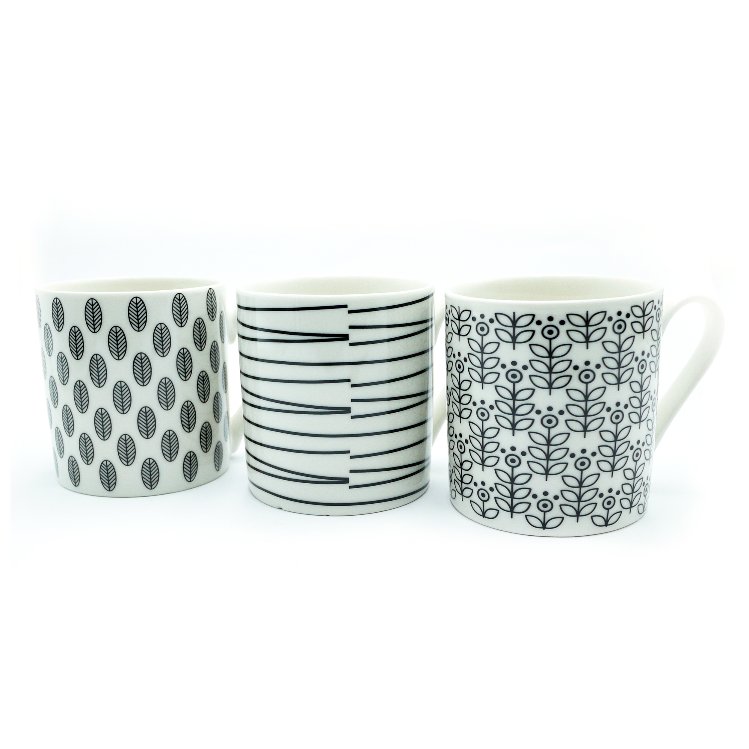 Domestic disposable cups or glasses or lids Squat Mugs Patterned 12oz Black & White Ref 0399290 [Pack 12]