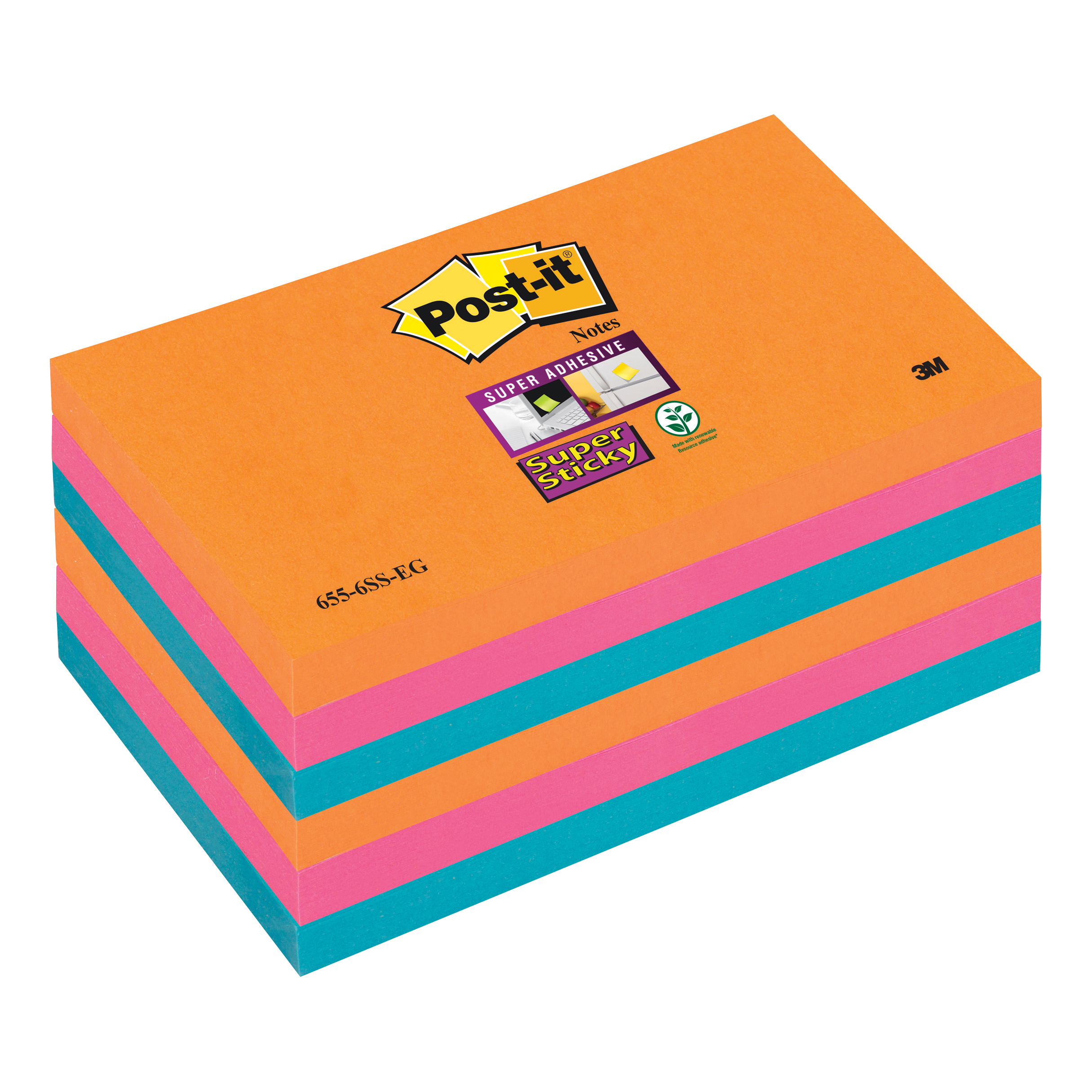 Post-it Super Sticky Colour Notes Pad 90 Sheets Bangkok 76x127mm Ref 655-6SS-EG Pack 6