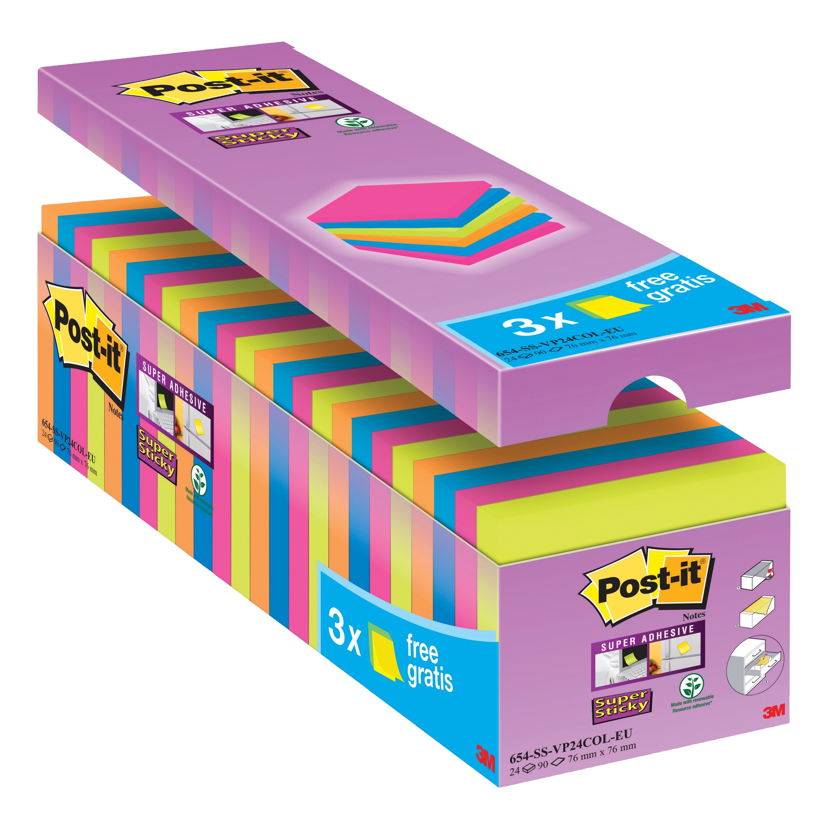 Post-it Super Sticky Notes Value Pack Pad 90 Sheets 76x76mm Assorted Ref 654-SS-VP24COL-EU Pack 24