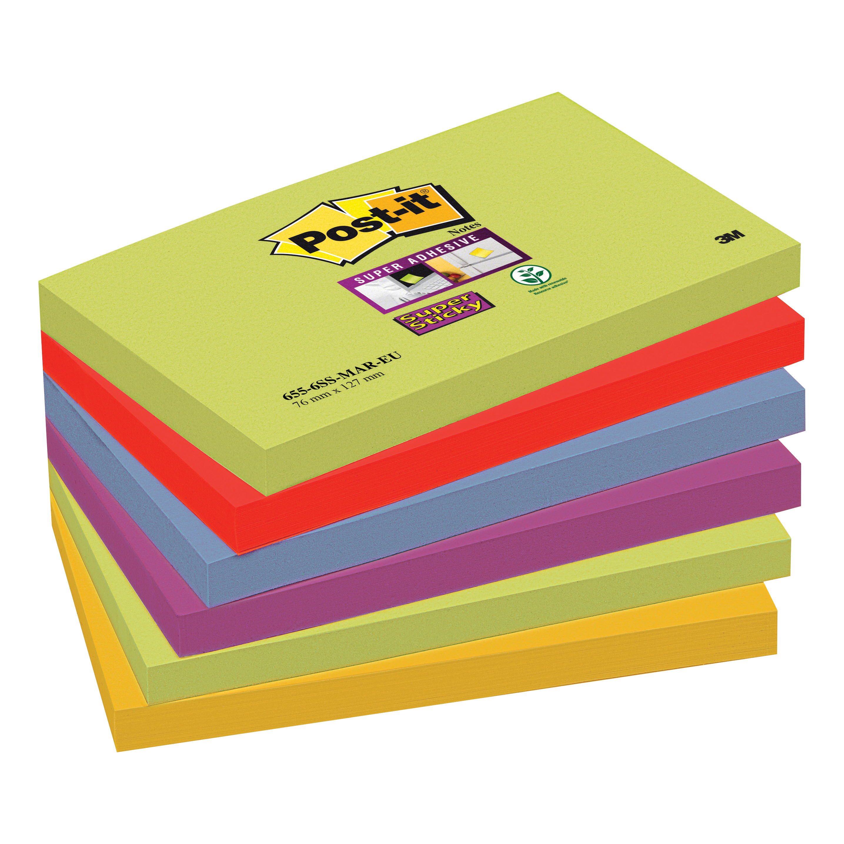 Post-it Super Sticky Removable Notes Pad 90 Sheets 76x127mm Marrakesh Ref 655-6SS-MAR Pack 6