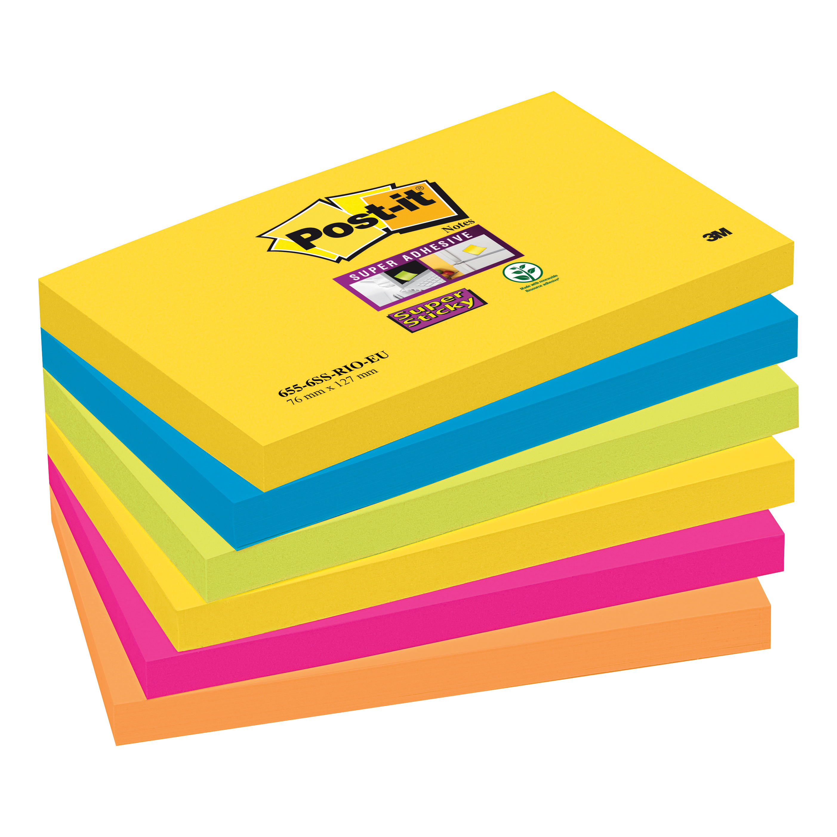 Post-it Super Sticky Removable Notes Pad 90 Sheets 76x127mm Rio Ref 655-6SS-RIO-EU [Pack 6]
