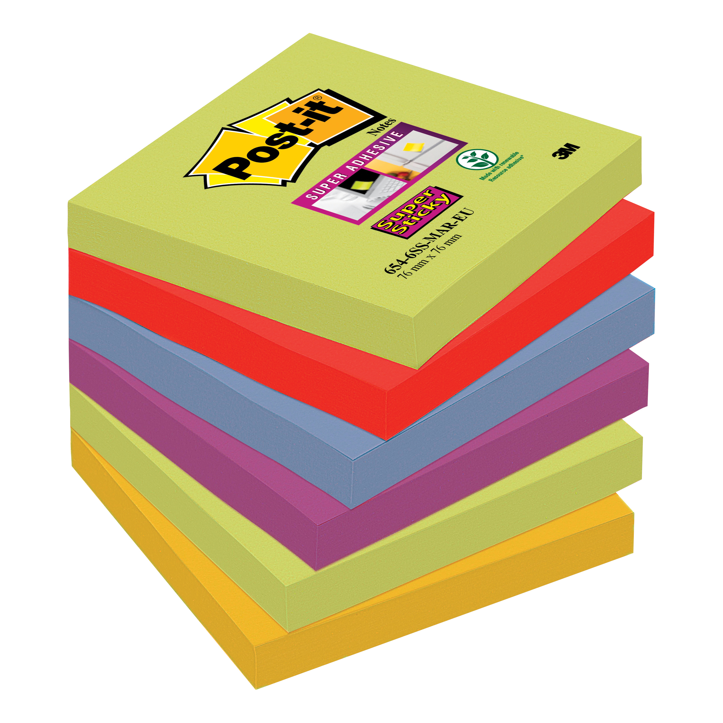 Self adhesive note paper Post-it Super Sticky Removable Notes Pad 90 Sheets 76x76mm Marrakesh Ref 654-6SS-MAR Pack 6