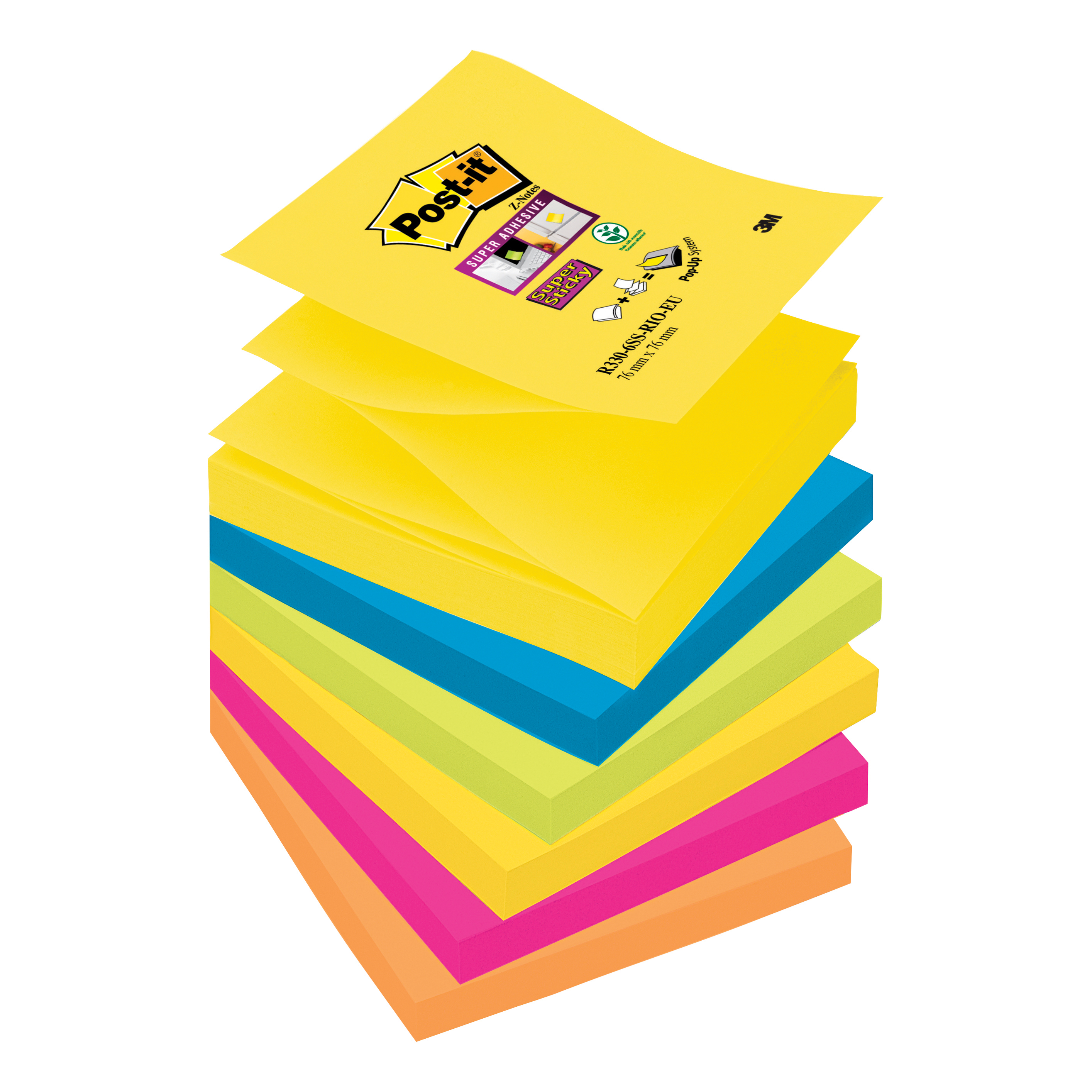 Post-it Super Sticky Z-Notes Pad 90 Sheets Rio 76x76mm R330-6SS-RIO-EU [Pack 6]