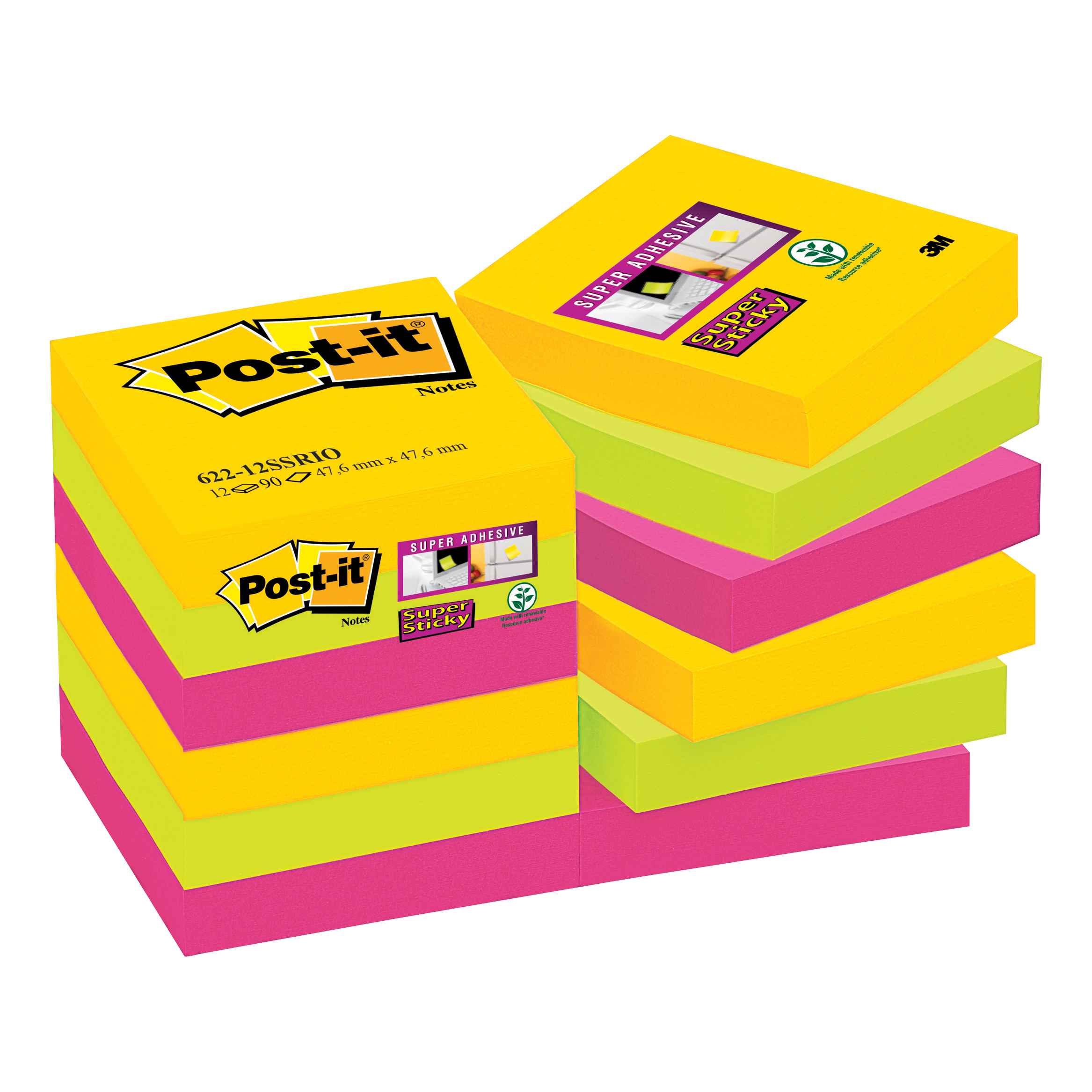 Post-it Super Sticky Notes Rio 47.6x47.6mm Ref 622-12SSRIO [Pack 12]