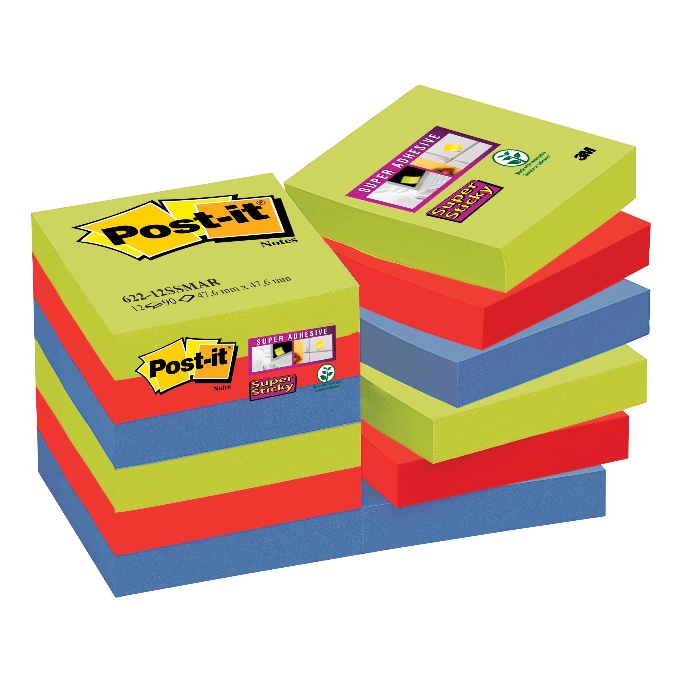 Post-it Super Sticky Notes Marrakesh 47.6x47.6mm Ref 622-12SSMAR Pack 12
