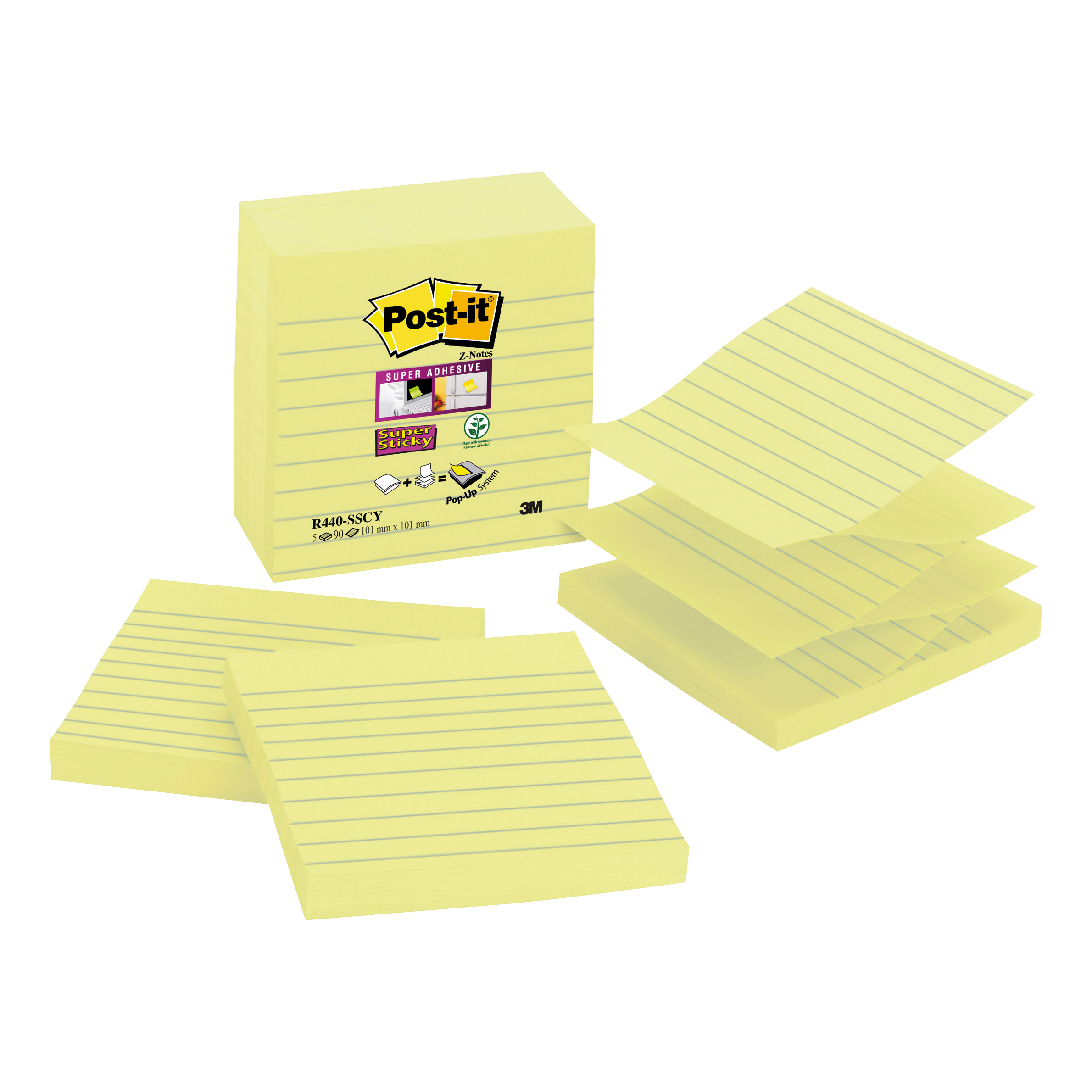 Post-it Z-notes Lined 101x101mm Yellow Ref R440-SSCY-EU Pack 5