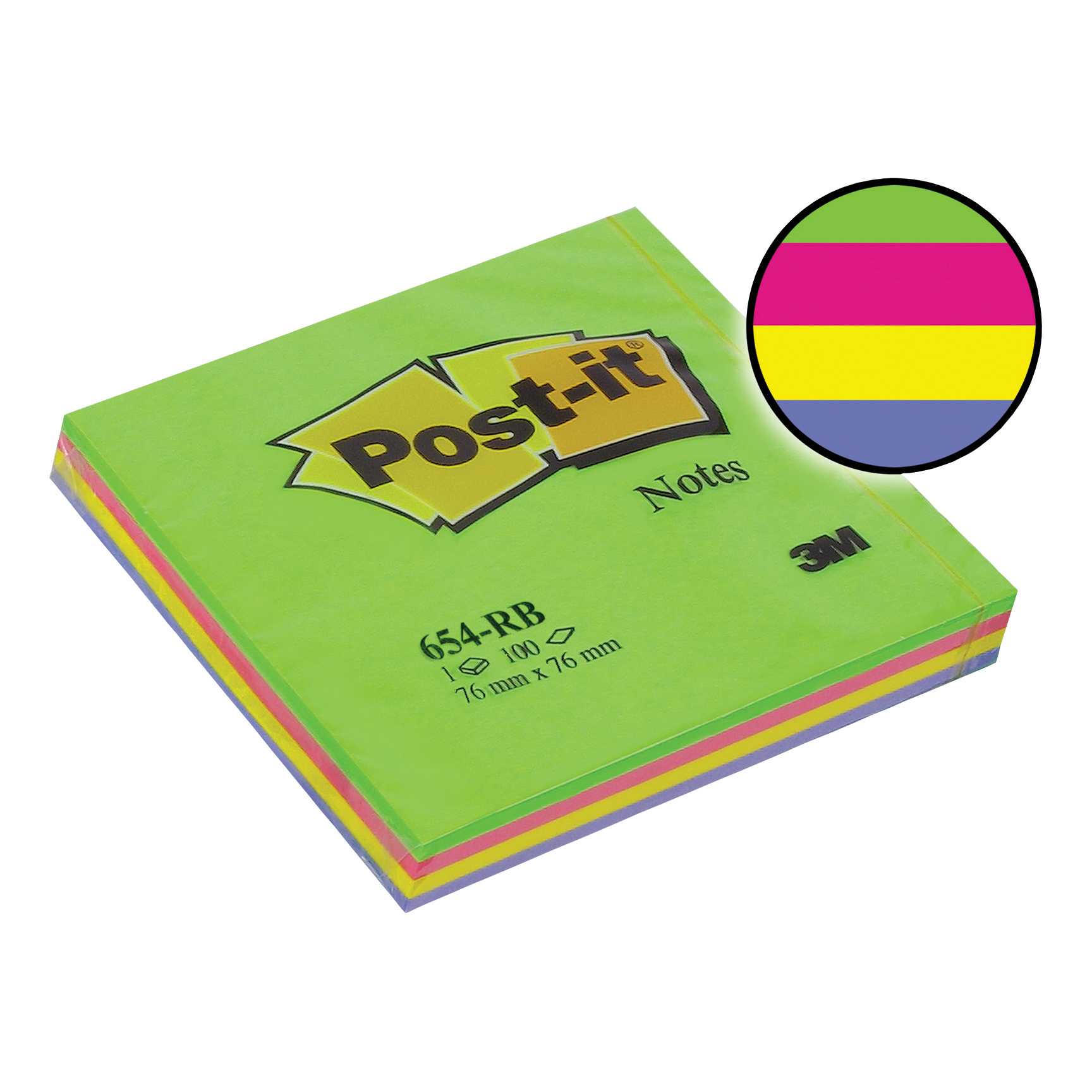 Post-it Rainbow Pads 76x76mm Spring Ref 654-RBSP [Pack 12]