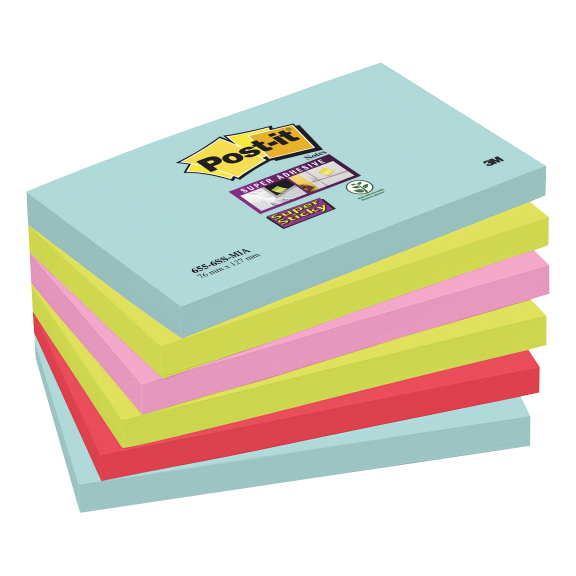 Self adhesive note paper Post-It Super Sticky Notes Miami 76x127mm Aqua Neon Green Pink Poppy Ref 655-6SS-MIA Pack 6