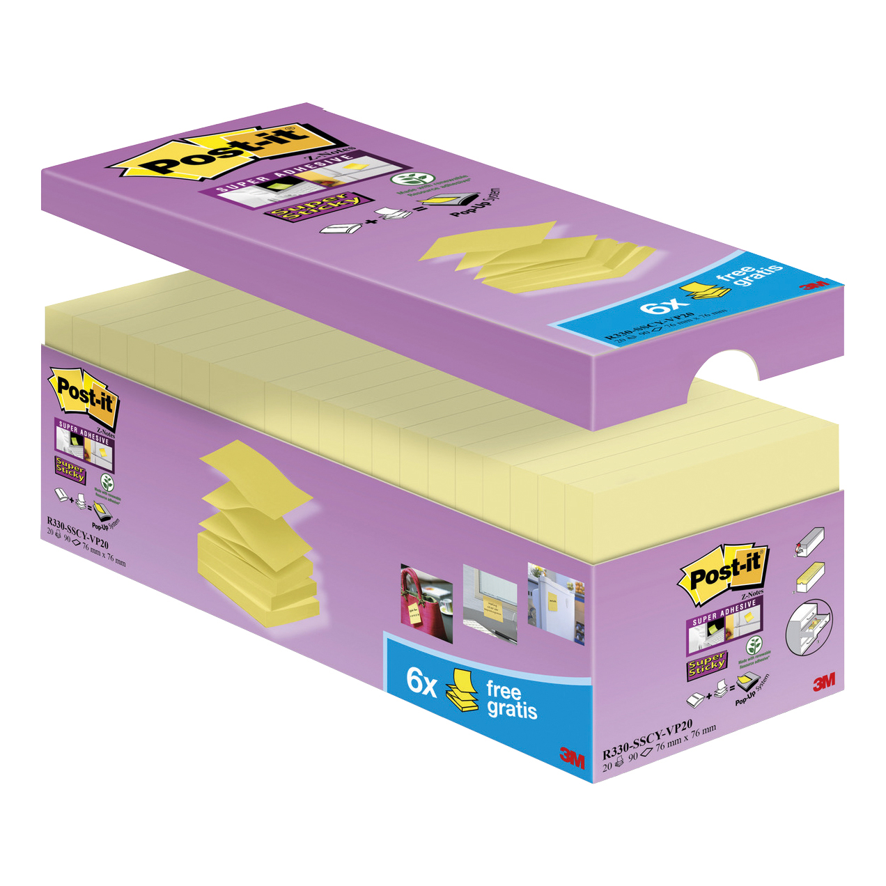 Self adhesive note paper Post-It Super Sticky Z-Notes Value Pack Super Strong 76x76mm Canary Yellow Ref R330-SSCYVP20 Pack 20