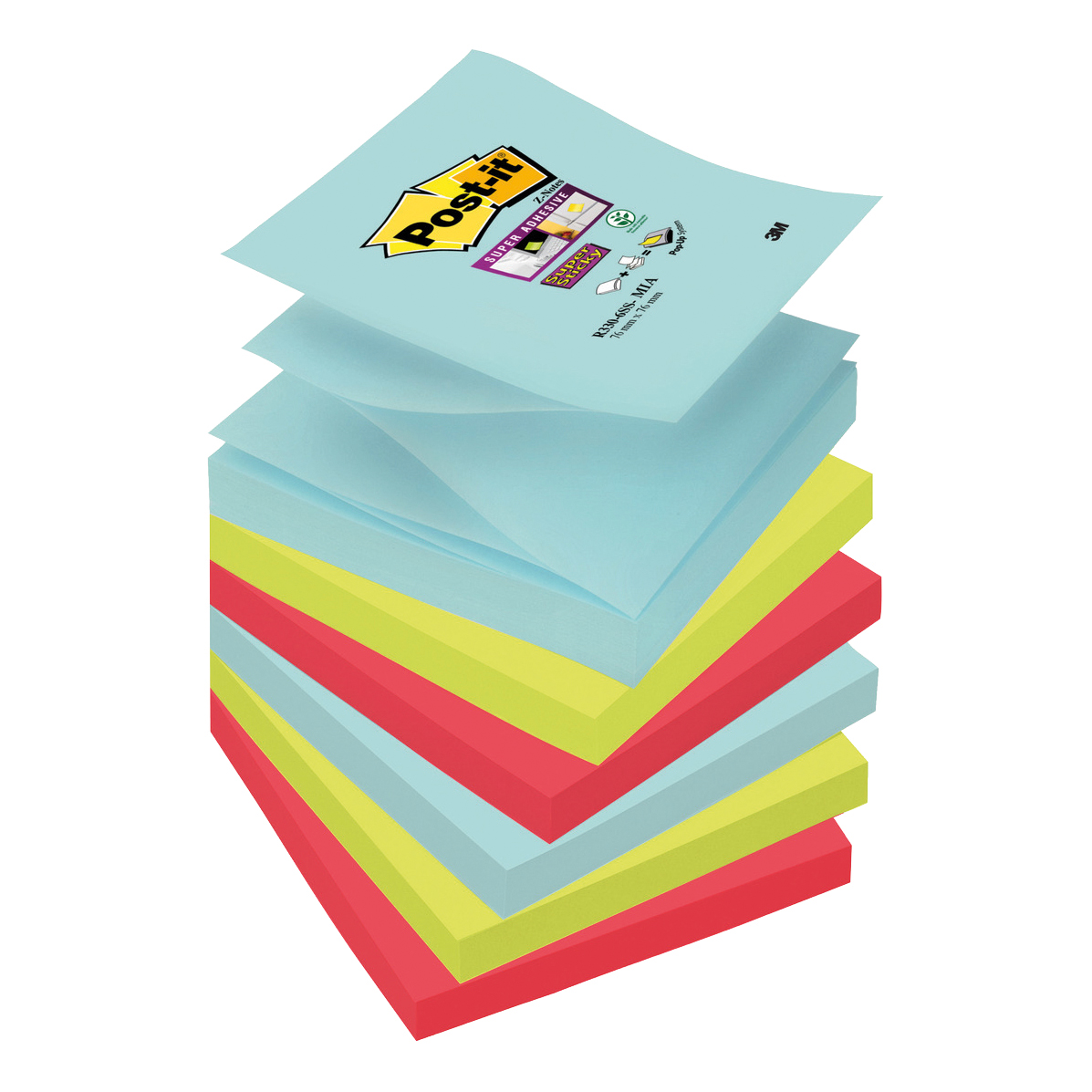 Self adhesive note paper Post-It Super Sticky Z-Notes Miami 76x76mm Aqua Neon Green Pink Poppy Ref R330-6SS-MIA Pack 6