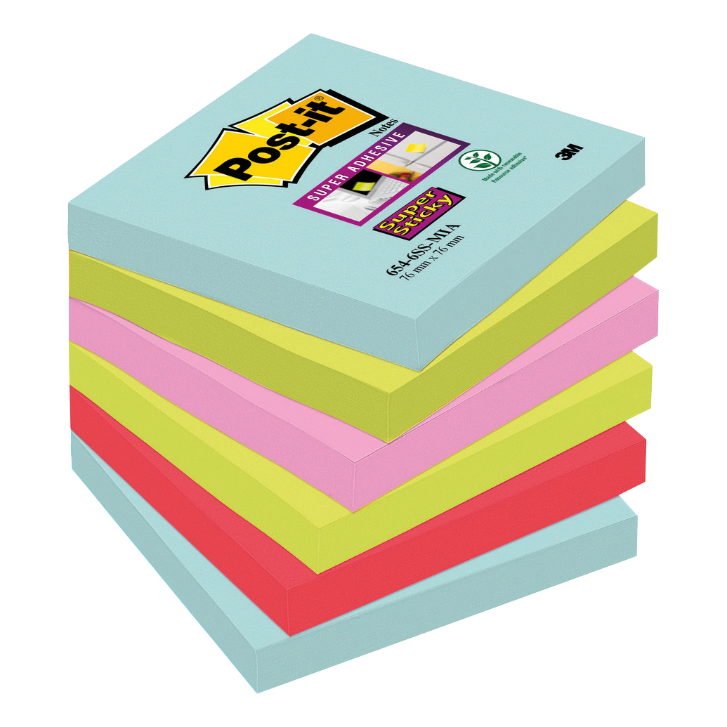 Self adhesive note paper Post-It Super Sticky Notes Miami 76x76mm Aqua Neon Green Pink Poppy Ref 654-6SS-MIA Pack 6