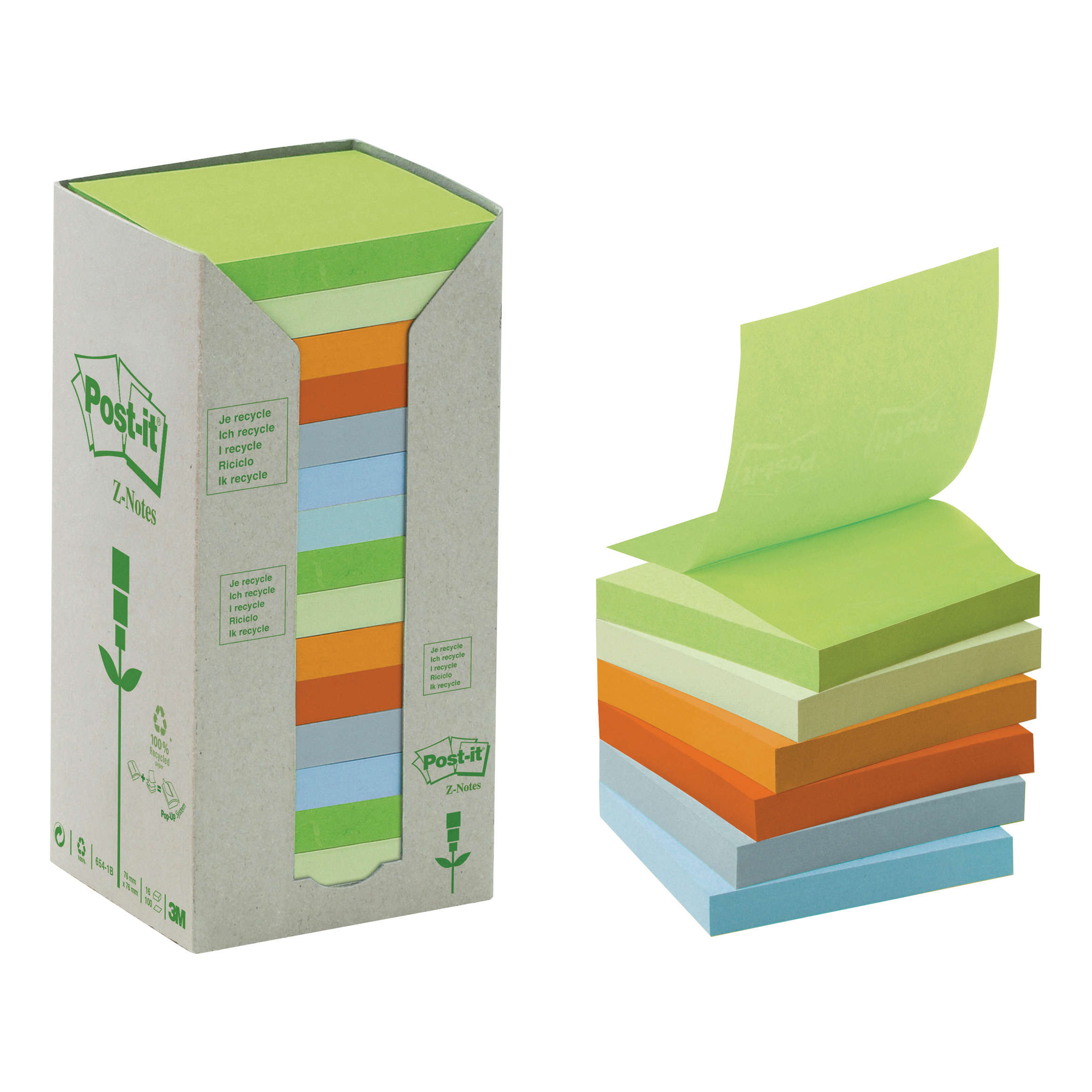 Post-it Z-Note Tower Recycled 100 Sheets per Pad 76x76mm Pastel Assorted Ref R3301RPT Pack 16