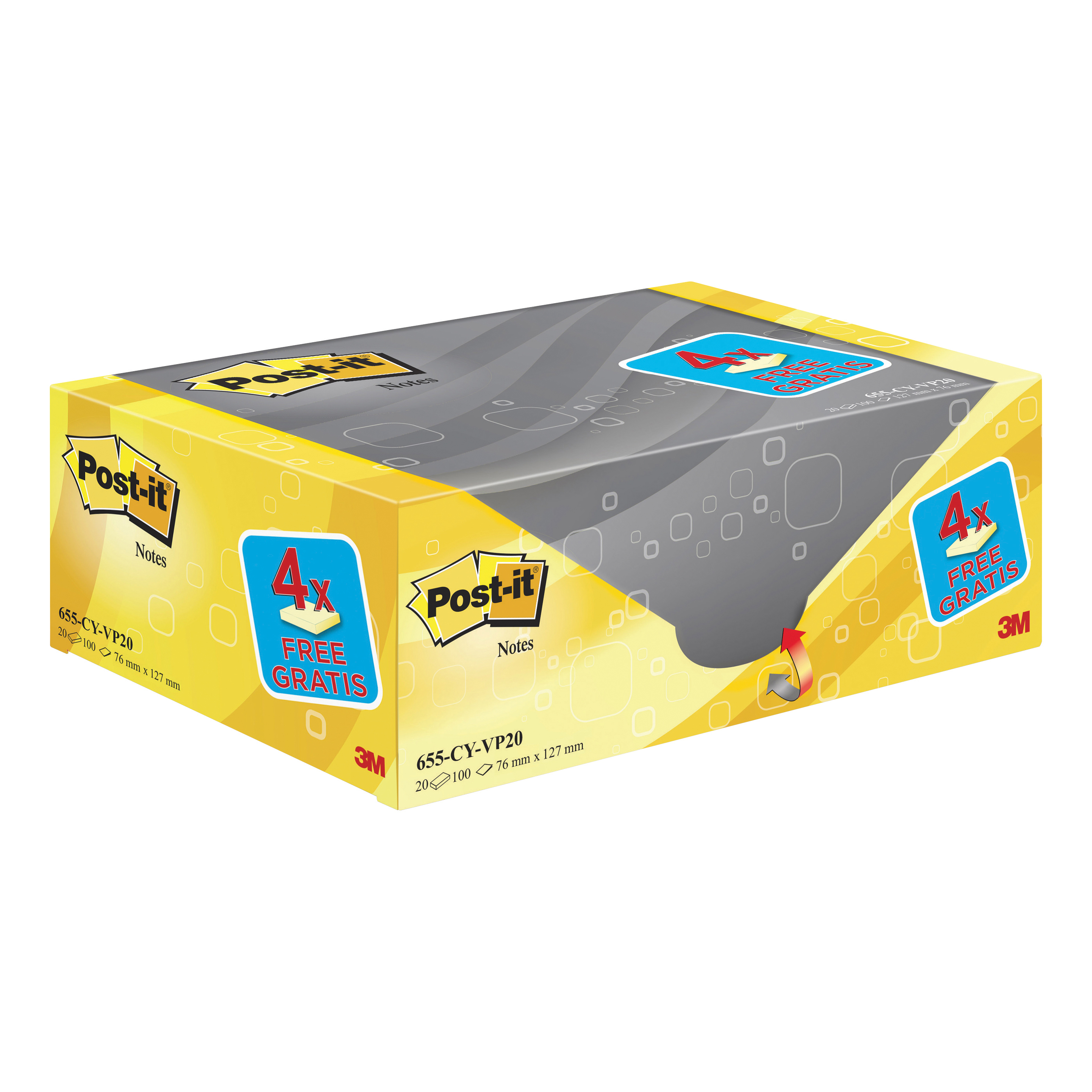 Post-it Note Value Display Pack Dispenser with Pads 76x127mm Yellow Ref 655Y-VP20 Pack 20