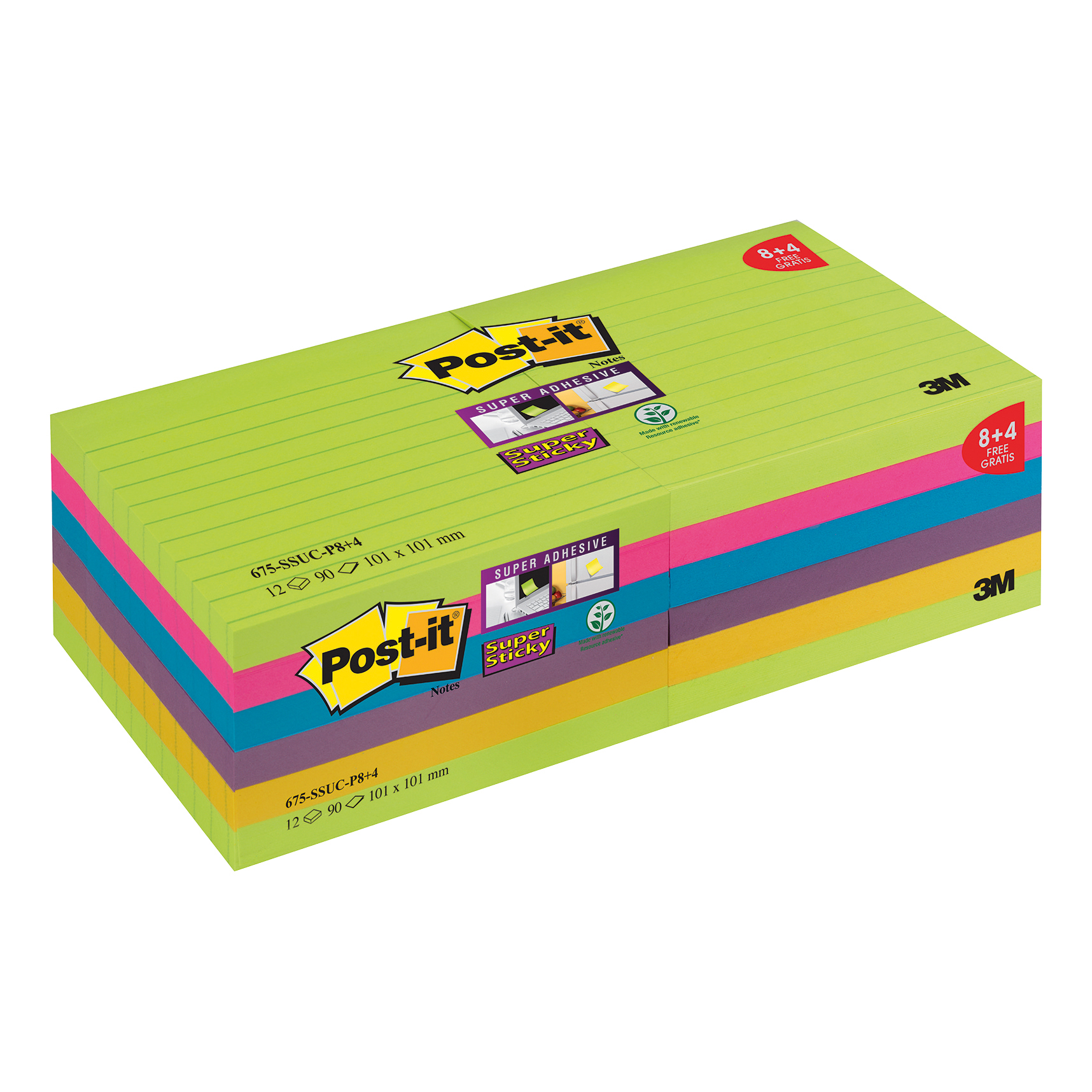 Self adhesive note paper Post-it Super Sticky XL 100x100 90 Sheets Rainbow Ref 675-SSUC-P8 Pack 8 + 4 Free