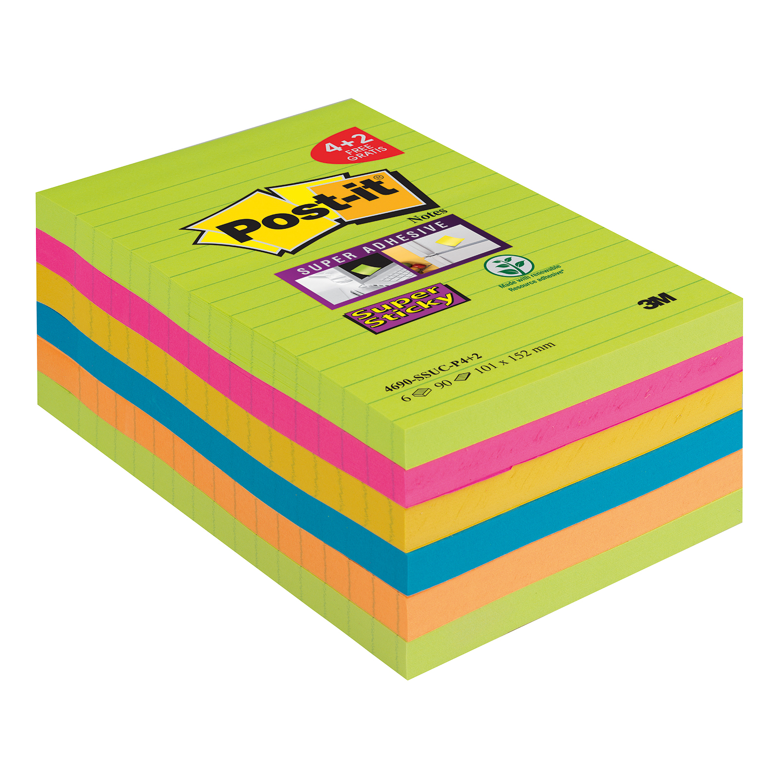 Self adhesive note paper Post-it Super Sticky XXL 101x152 90 Sheets Rainbow Ref 4690-SSUC-P4 Pack 4 + 2 Free