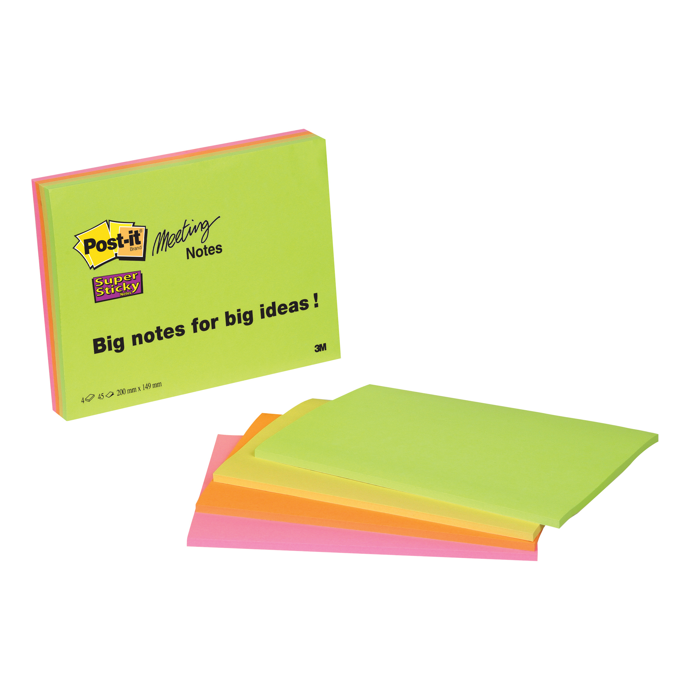 Post-it Super Sticky Meeting Notes Pads of 45 Sheets 200x149mm Bright Colours Ref 6845SSP Pack 4