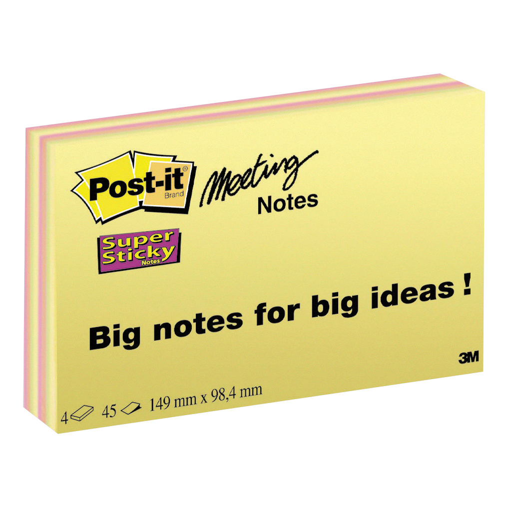 Post-it Super Sticky Meeting Notes Pads of 45 Sheets 149x98.4mm Bright Colours Ref 6445SSP [Pack 4]