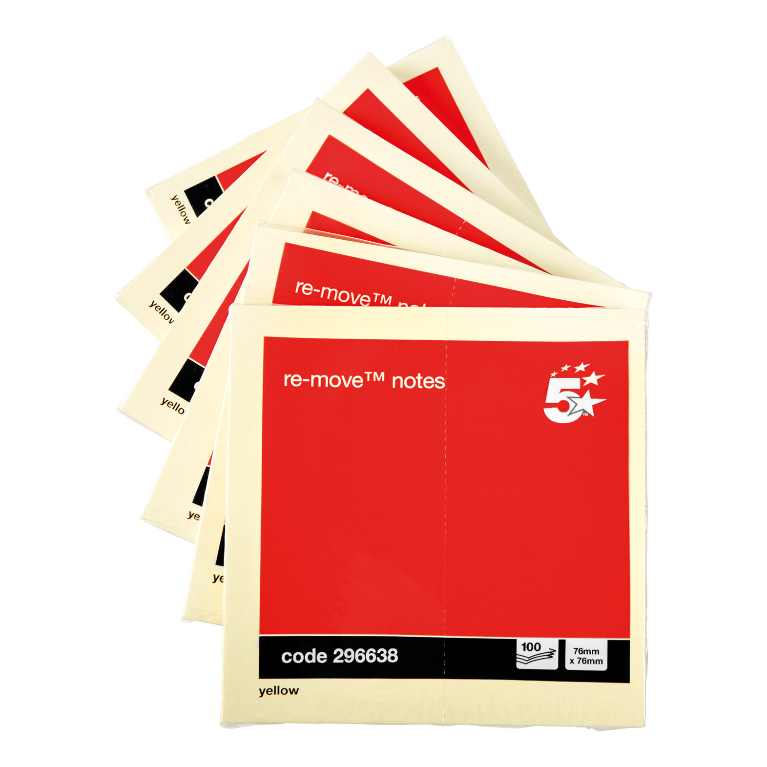 5 Star Office Re-Move Notes Repositionable Pad of 100 Sheets 76x76mm Yellow Pack 12