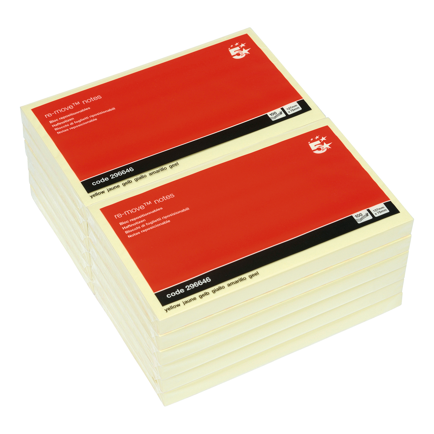 5 Star Office Re-Move Notes Repositionable Pad of 100 Sheets 76x127mm Yellow Pack 12