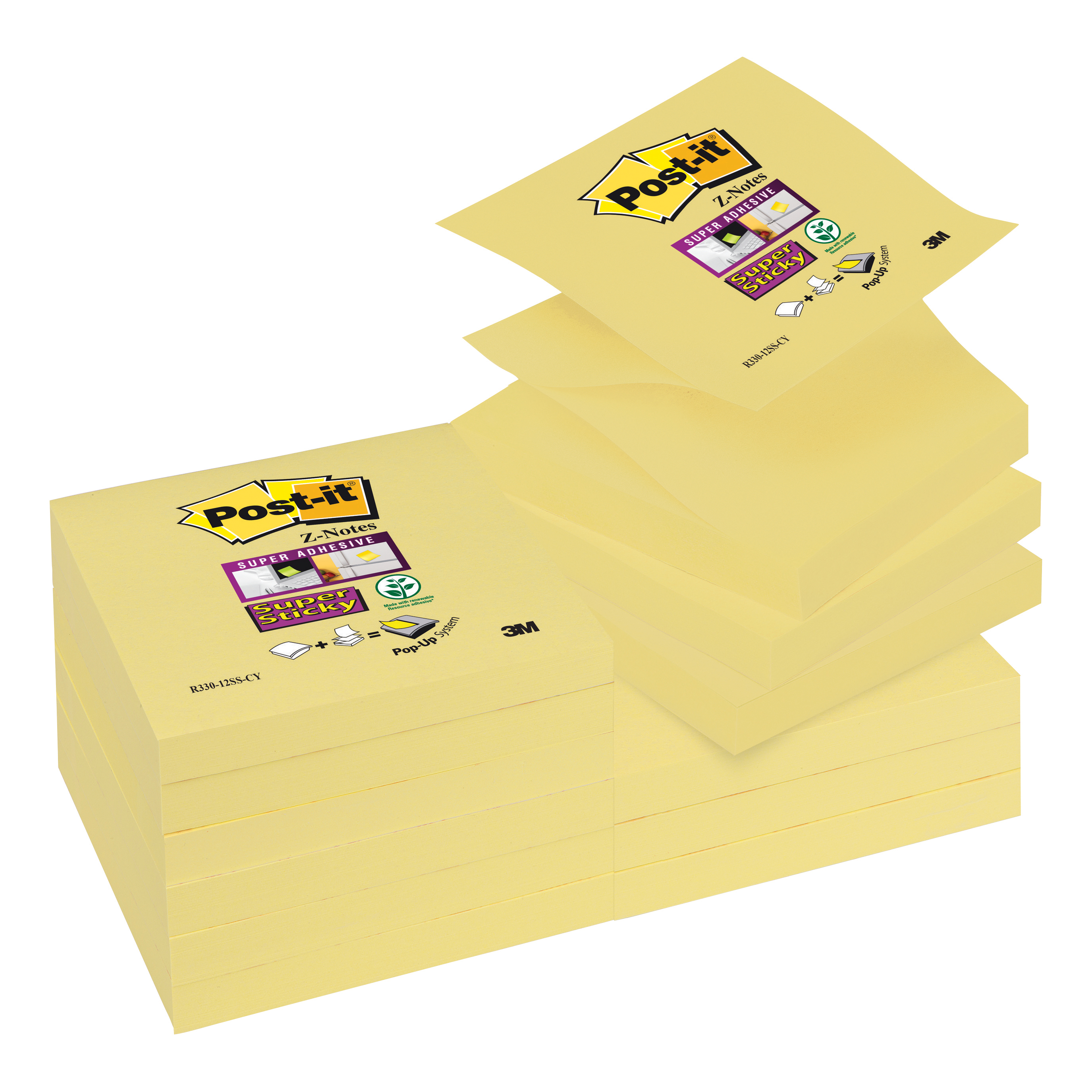Post-it Super Sticky Z Notes 76x 76mm Canary Yellow Ref R330-12SS-CY-EU Pack 12