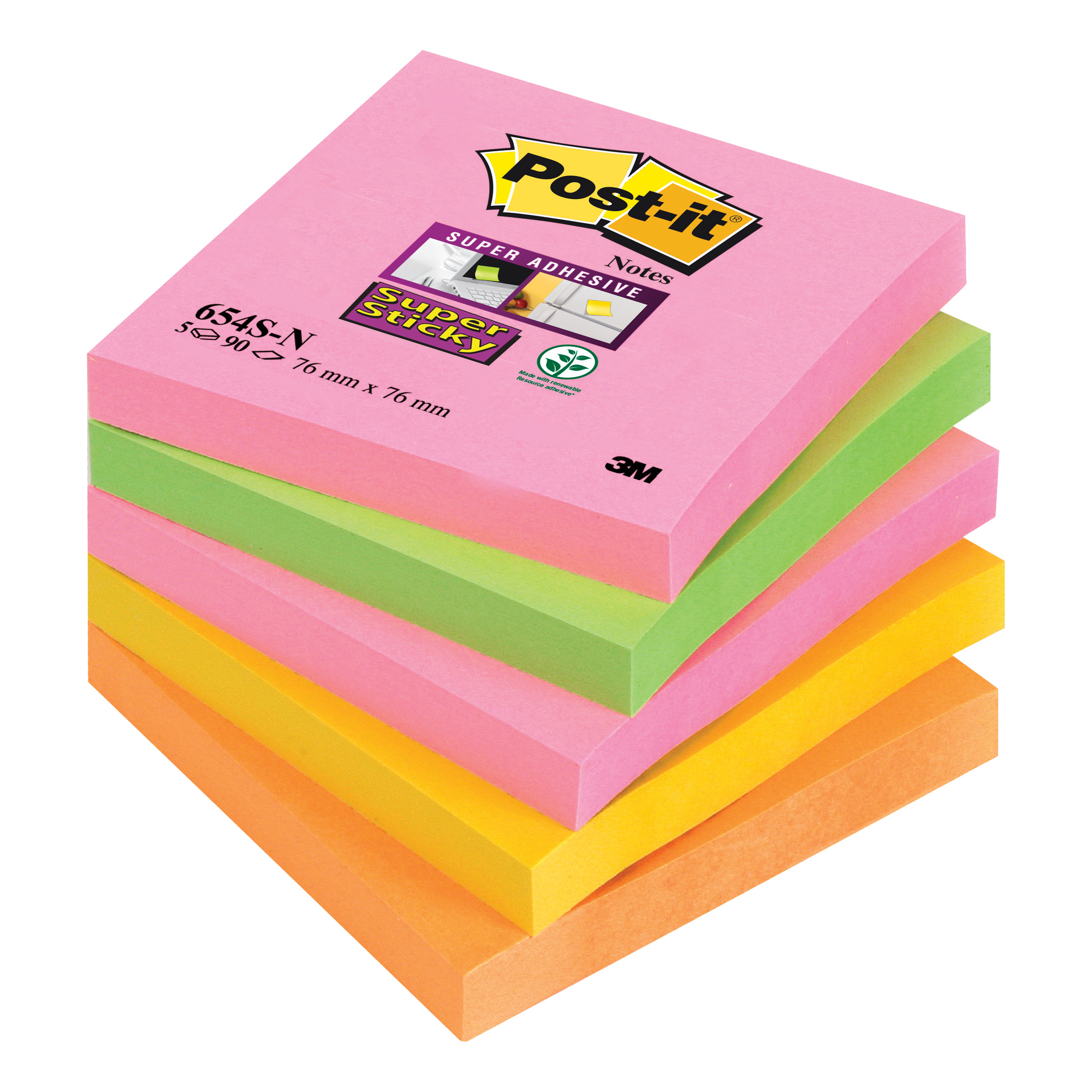 Post-it Super Sticky Notes 76x76mm Capetown Rainbow Ref 654SN Pack 5