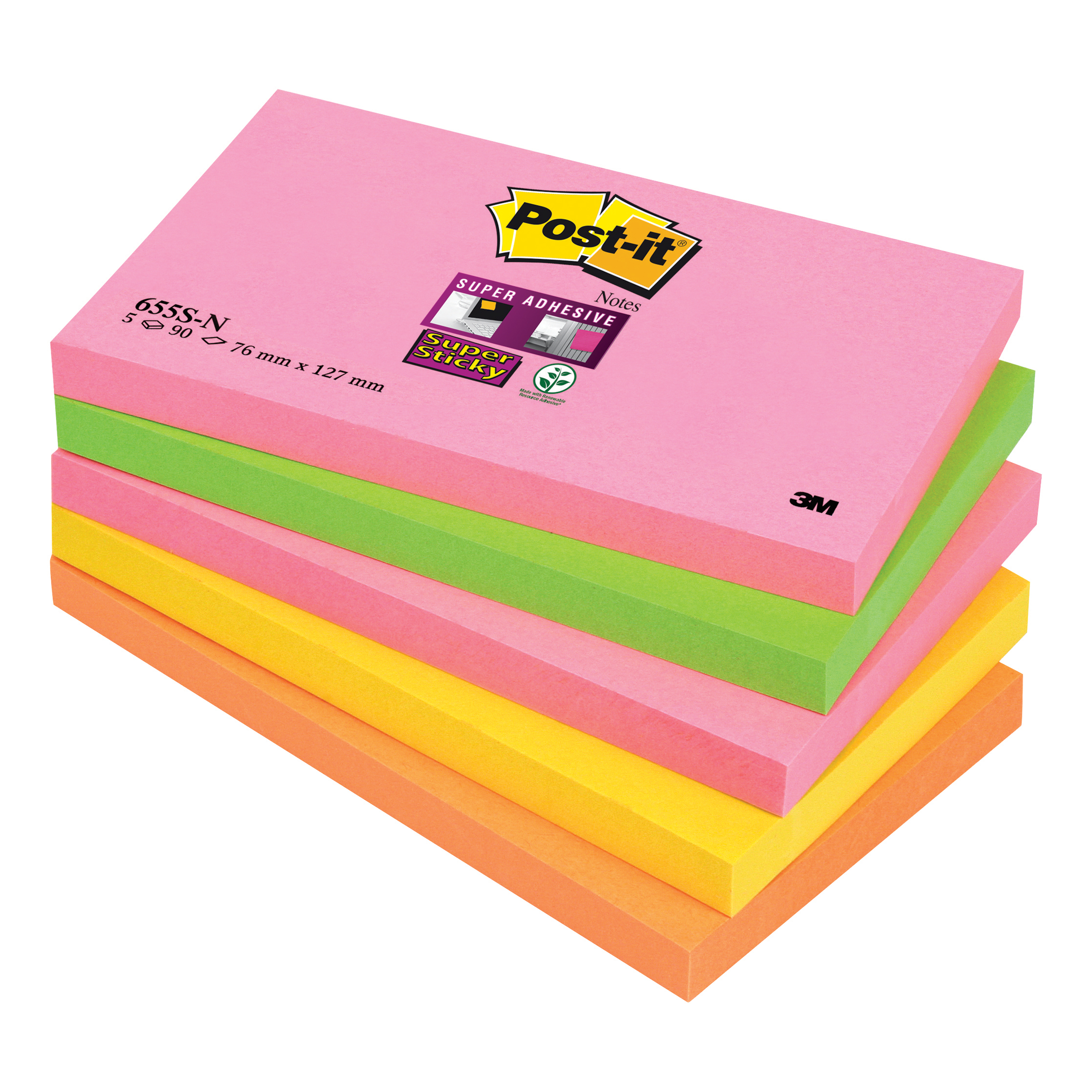 Image for Post-it Super Sticky Notes 76x127mm Capetown Rainbow Ref 655SN [Pack 5]