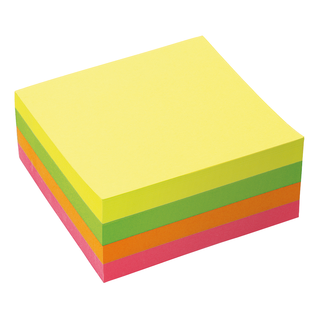 Coloured 5 Star Office Re-Move Notes Cube Pad of 400 Sheets 76x76mm Neon Rainbow