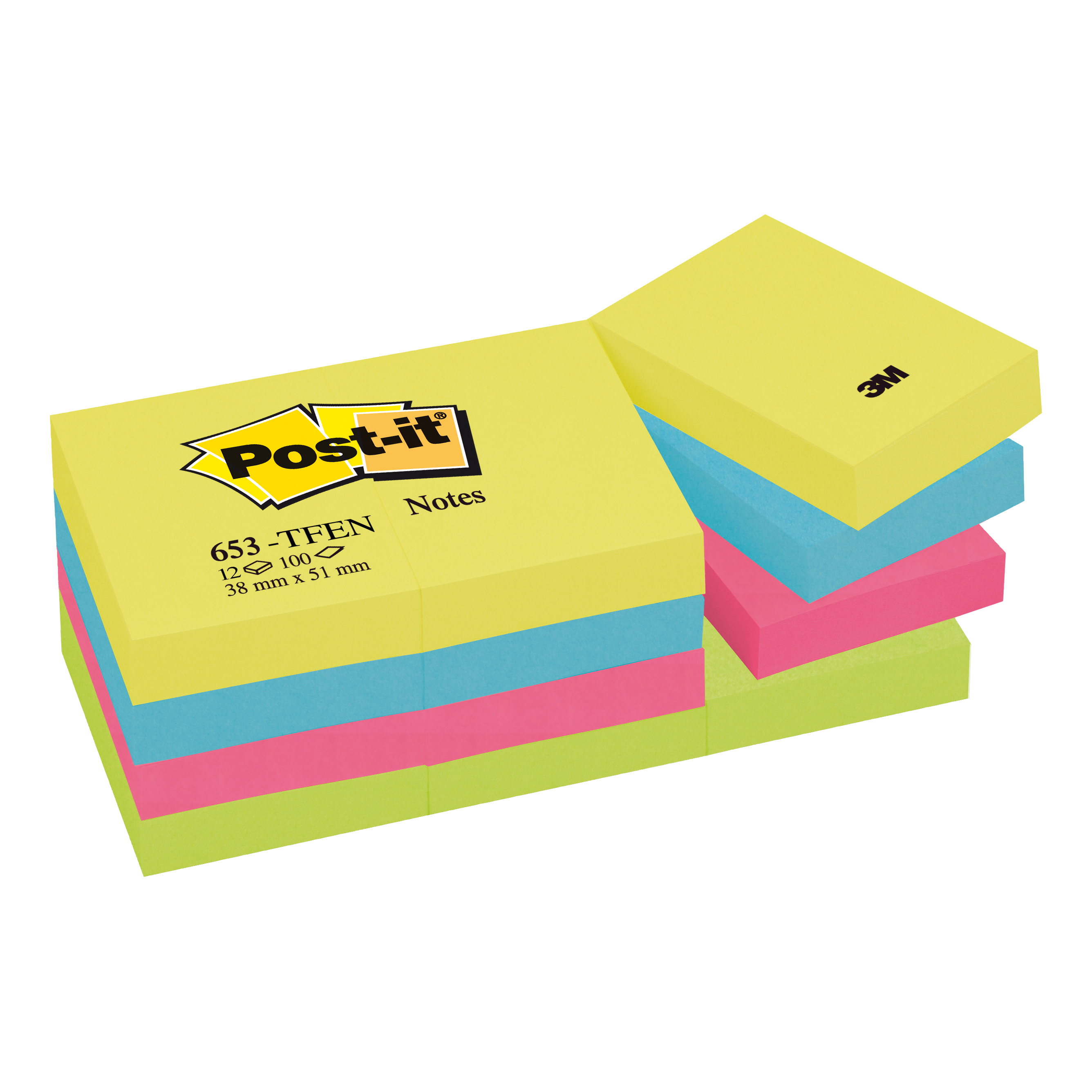 Post-it Colour Notes Pad of 100 Sheets 38x51mm Energetic Palette Rainbow Colours Ref 653TFEN [Pack 12]