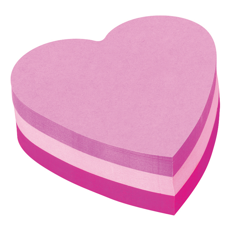 Self adhesive note paper Post-it Heart Shaped Notes Pad of 225 Sheets Pink Tones Ref 2007H