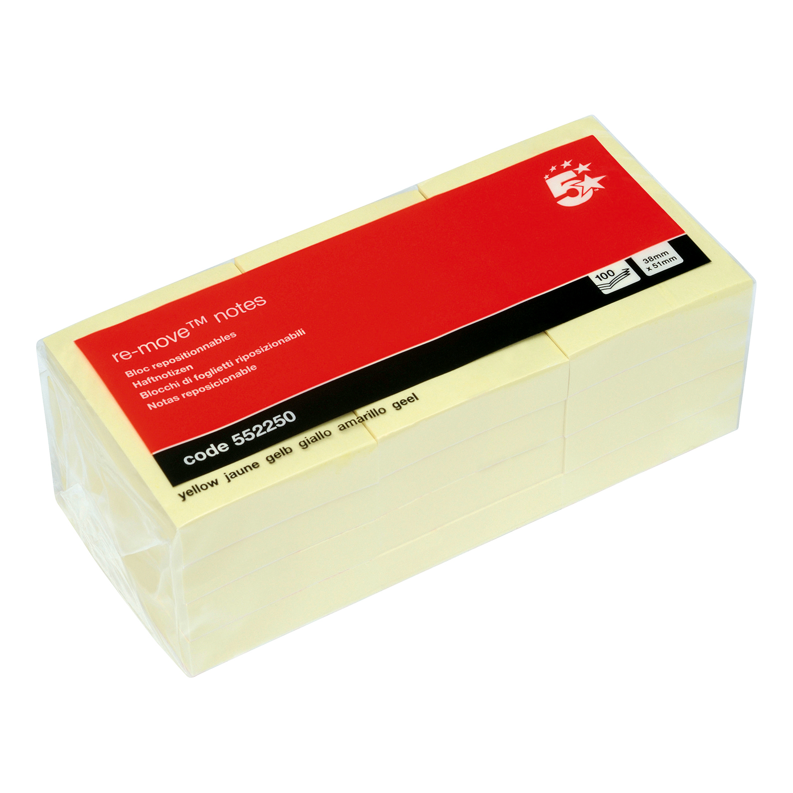 5 Star Office Re-Move Notes Repositionable Pad of 100 Sheets 38x51mm Yellow Pack 12