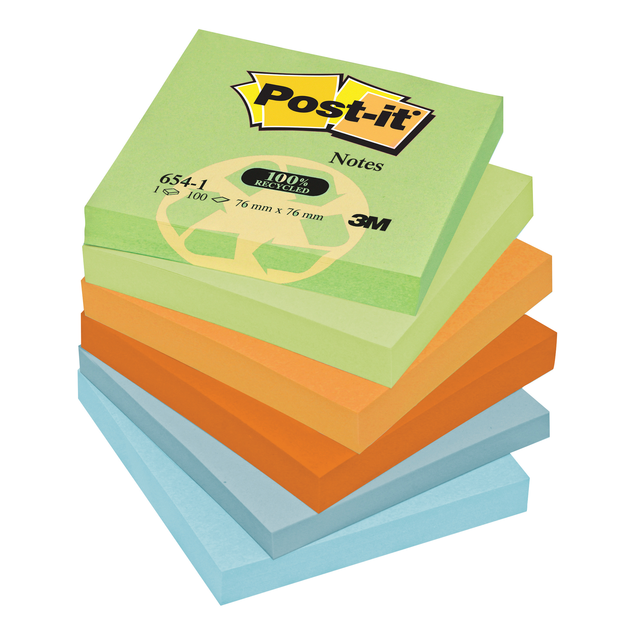 Post-it Notes Recycled 100 Sheets per Pad 76x76mm Pastel Rainbow Ref 6541RP Pack 12