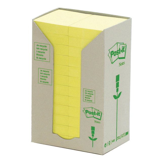 Post-it Recycled Notes Tower Pack 38x51mm Pastel Yellow Ref 653-1T Pack 24