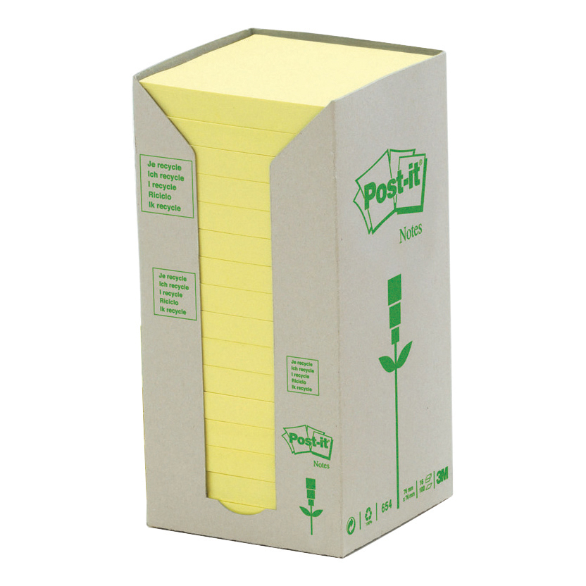 Self adhesive note paper Post-it Note Recycled Tower Pack 76x76mm Pastel Yellow Ref 654-1T Pack 16