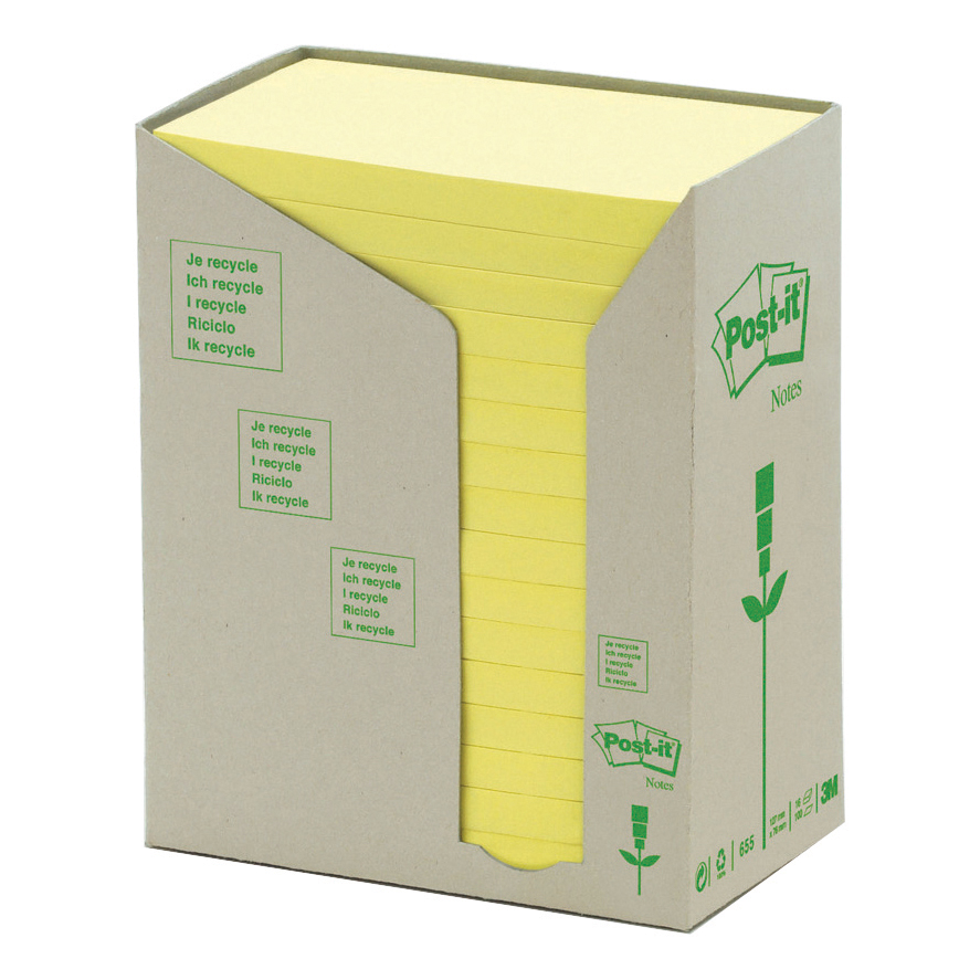 Post-it Note Recycled Tower Pack 76x127mm Pastel Yellow Ref 655-1T Pack 16