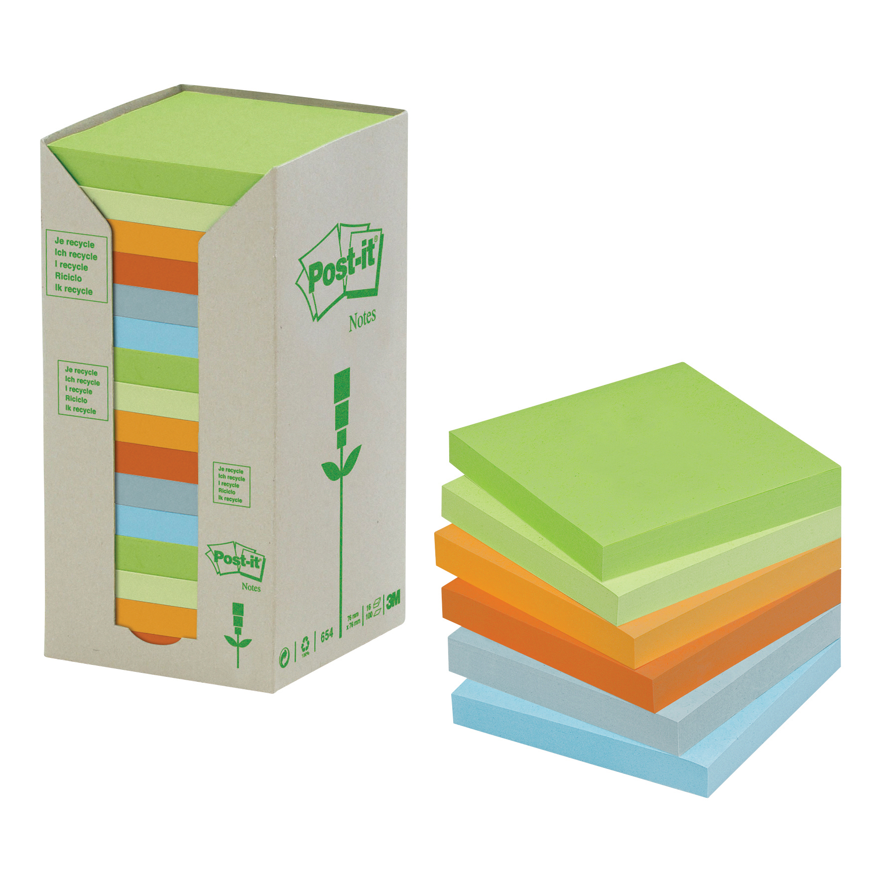 Post-it Notes Pad Recycled Tower Pack 76x76mm Pastel Rainbow Ref 654-1RPT Pack 16