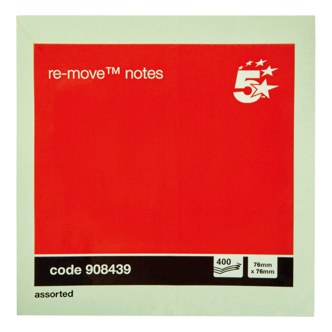 5 Star Office Re-Move Notes Cube Pad of 400 Sheets 76x76mm Pastel Rainbow
