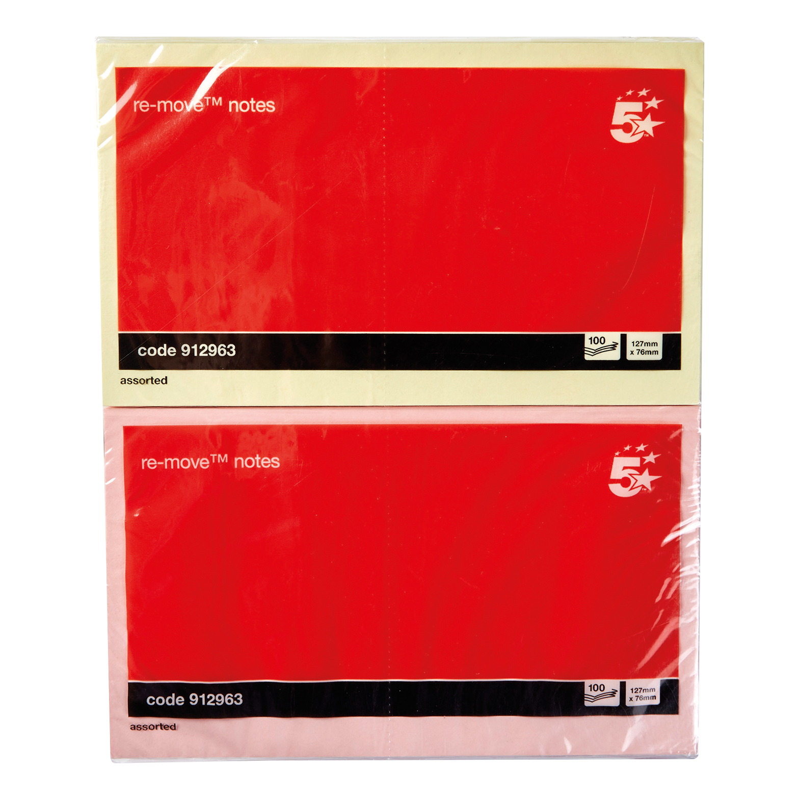 5 Star Office Re-Move Notes Repositionable Pastel Pad of 100 Sheets 76x127mm Assorted Pack 12